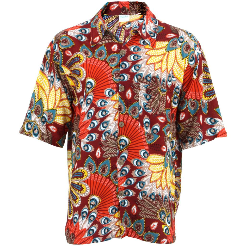 86fd6e4e Details about Men's Loud Shirt Retro Psychedelic Funky Party Hawaiian  Tropical MAROON RED