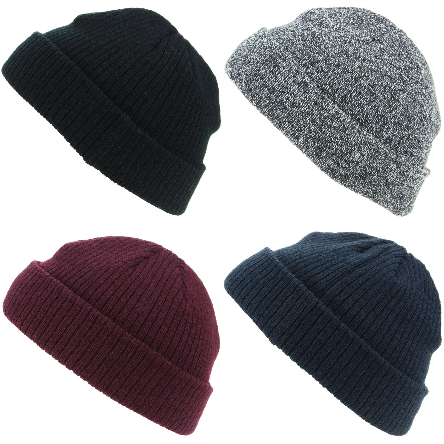 1076b6bff Details about Mini Beanie Hat Fishermans Cap Mens Womens Black Maroon Blue  Winter Warm