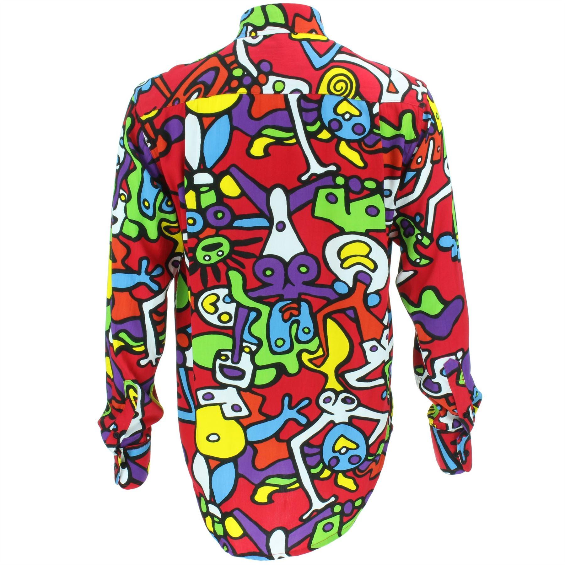 Mens-Shirt-Loud-Originals-Rayon-REGULAR-FIT-Long-Sleeve-TIFFY-PRINT-Retro-Dance thumbnail 15