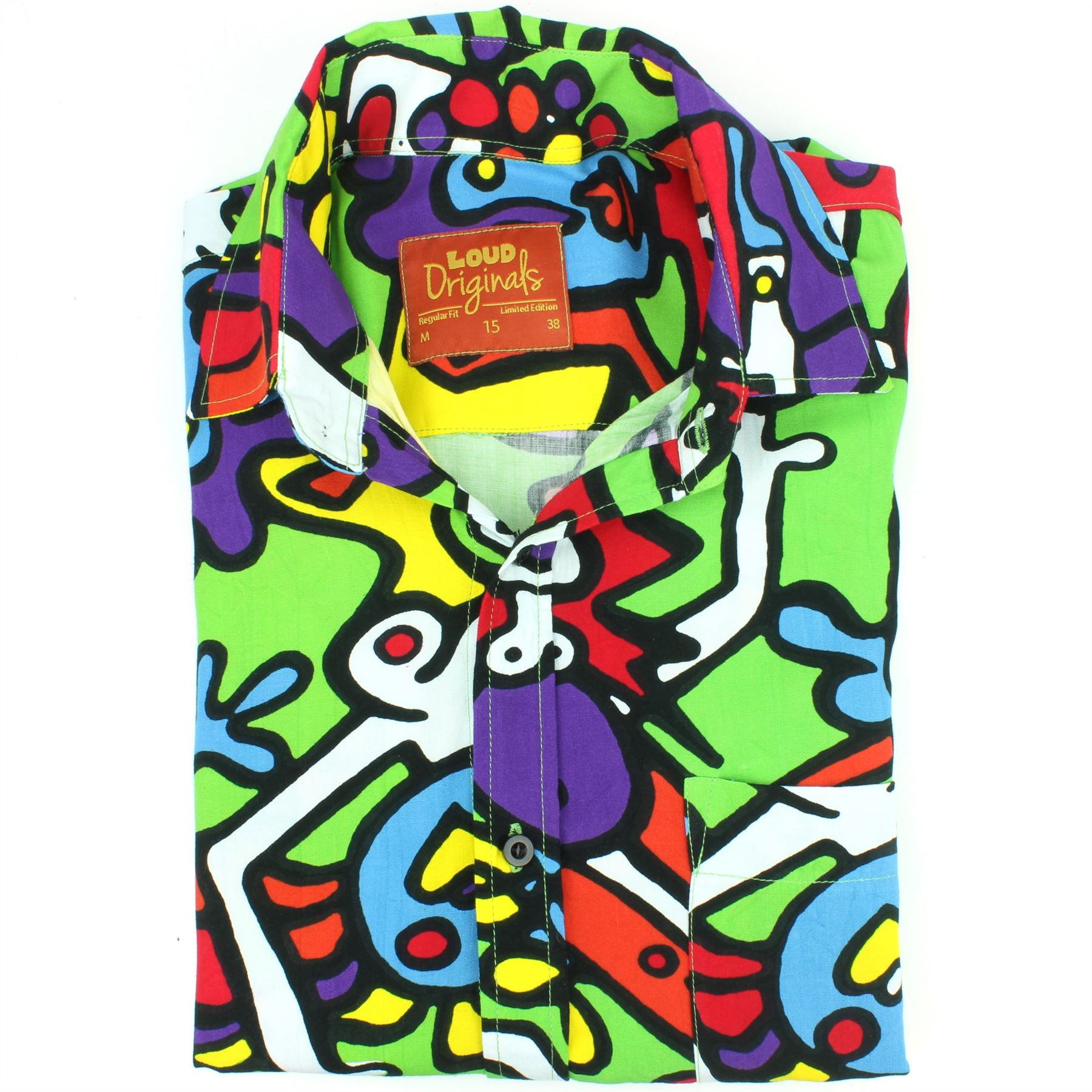 Mens-Shirt-Loud-Originals-Rayon-REGULAR-FIT-Long-Sleeve-TIFFY-PRINT-Retro-Dance thumbnail 8