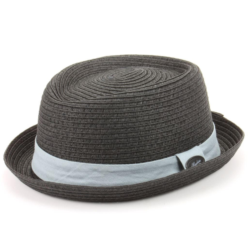 f65674341 Details about Porkpie Pork Pie Hat Hawkins Straw Trilby Fedora Unisex BLACK  Band Mens