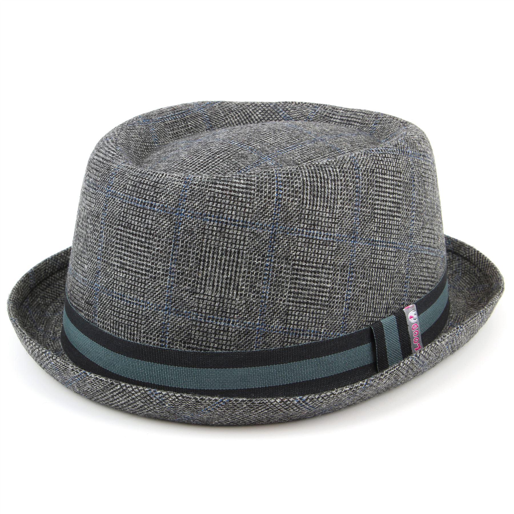 Luz de cerdo Tweed sombrero de la empanada de fieltro gris con banda  grosgrain negro y gris. 9b000aa6944