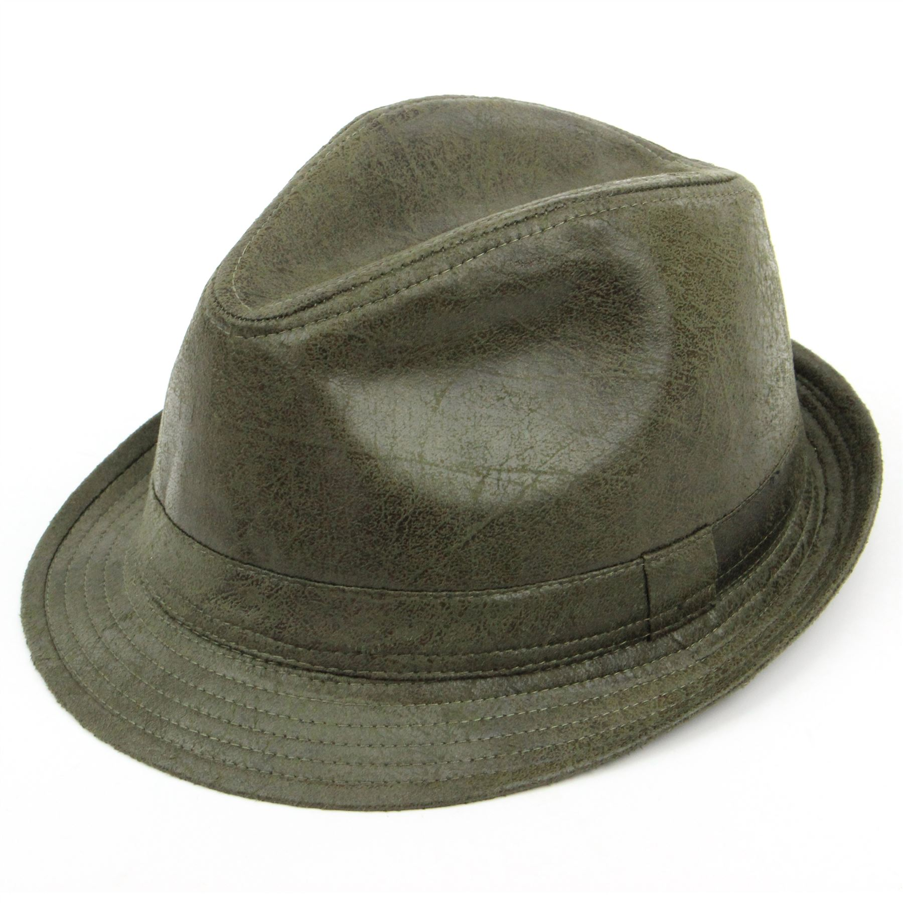 Details about Trilby Hat OLIVE GREEN Distressed Vintage Effect Fedora Cap  Brim Unisex 1faa80c36a2f