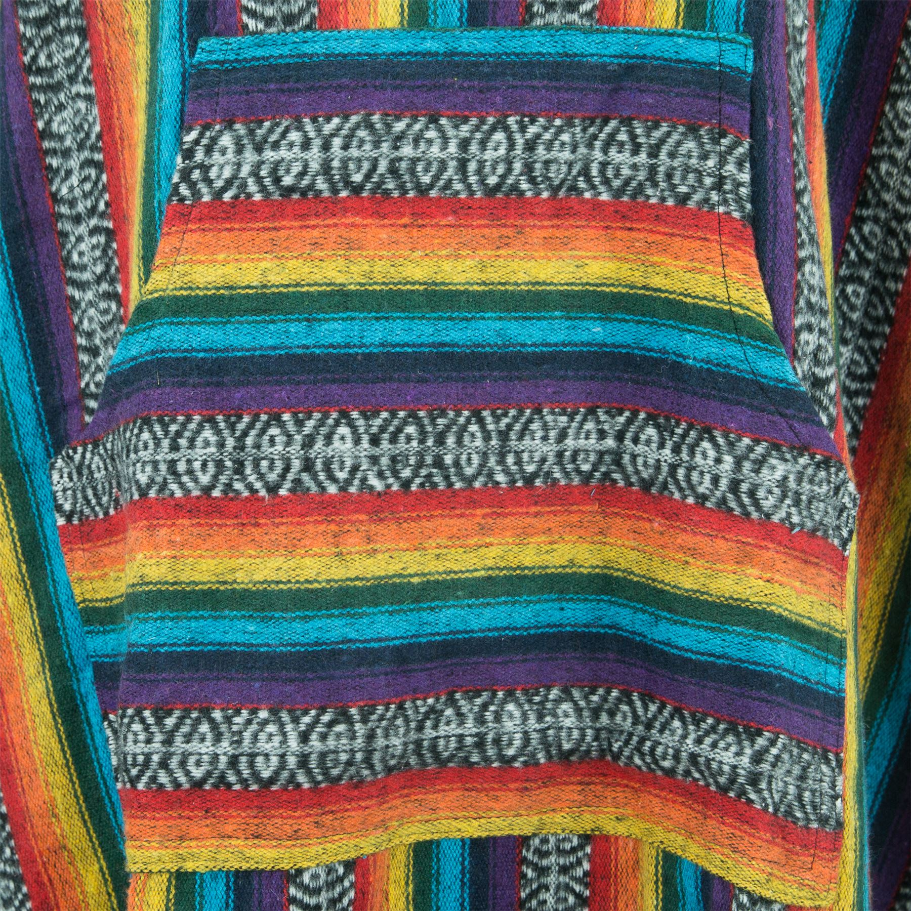 Poncho-Hooded-Cape-Cotton-Warm-Festival-Long-Woven-Rainbow-Men-Women thumbnail 17