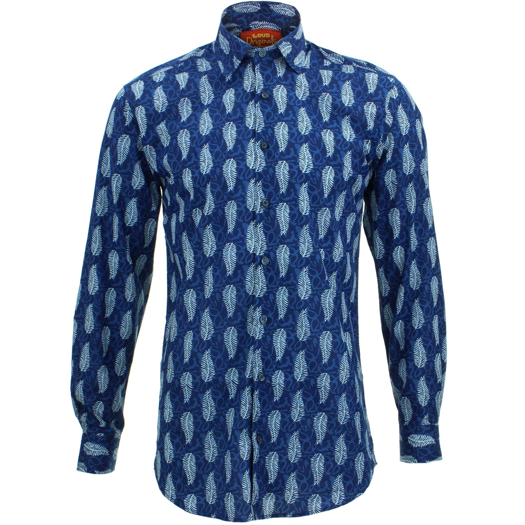 Mens Shirt Loud Originals SLIM FIT Abstract Blue Retro Psychedelic Fancy