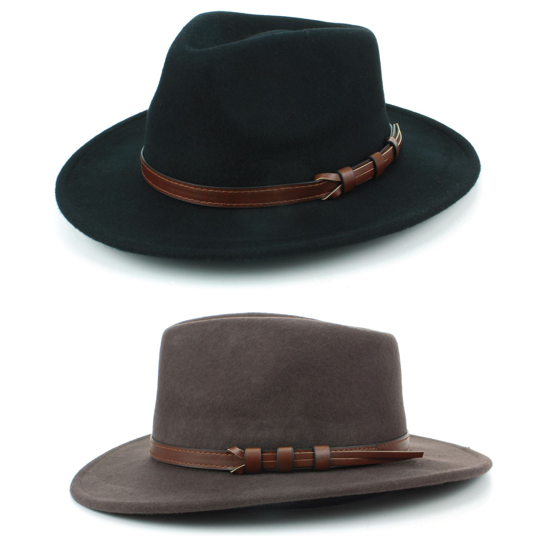 aa5f2d07 Wool fedora bush hat with a pinched crown, a wide flat brim and a faux  leather band.