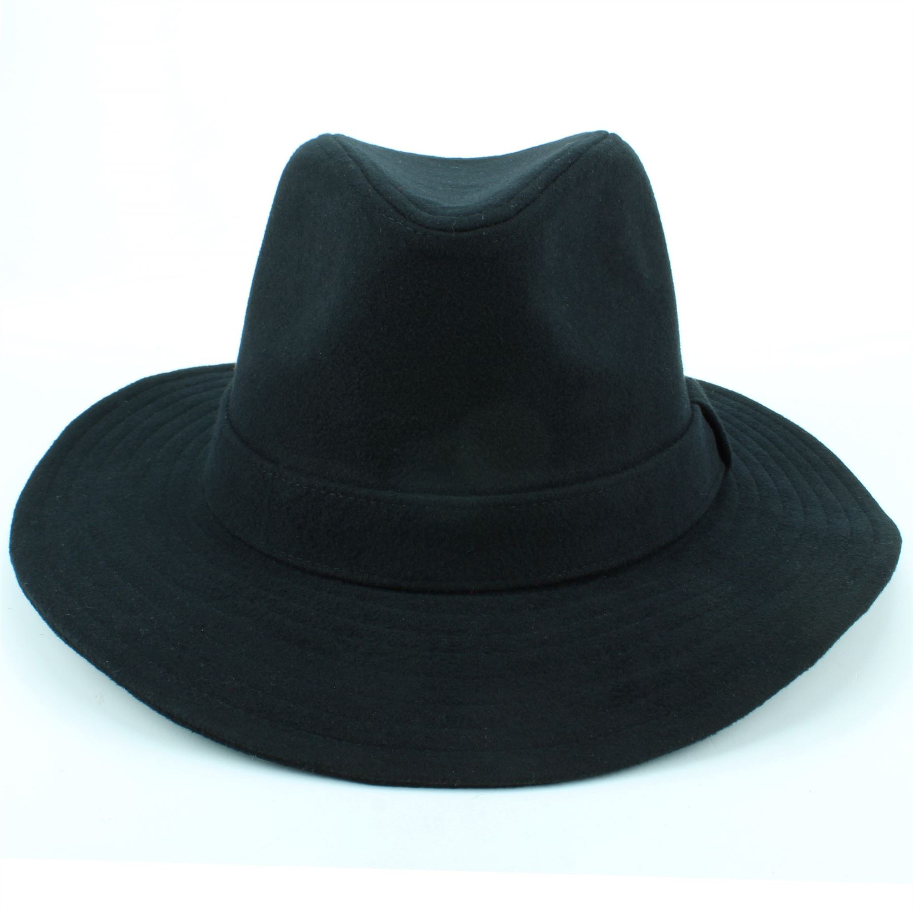 Fedora Trilby Hat Wool BLACK BLUE Hawkins Brim Mens Ladies Travel  5c8dc95f83e