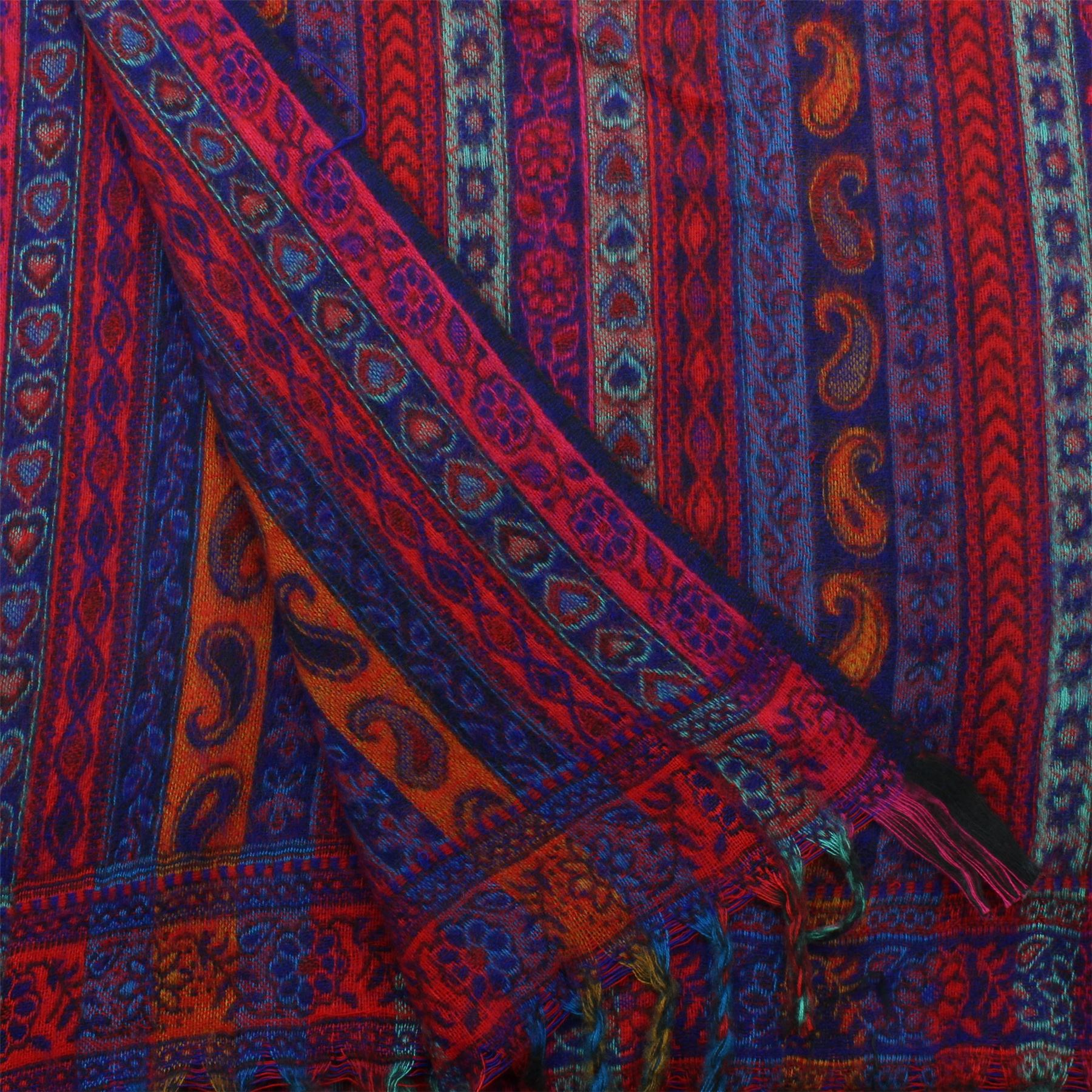 Acrylic-Wool-Blanket-Shawl-Wrap-Throw-Finest-Softest-India-Stripe-Paisley-Travel thumbnail 10