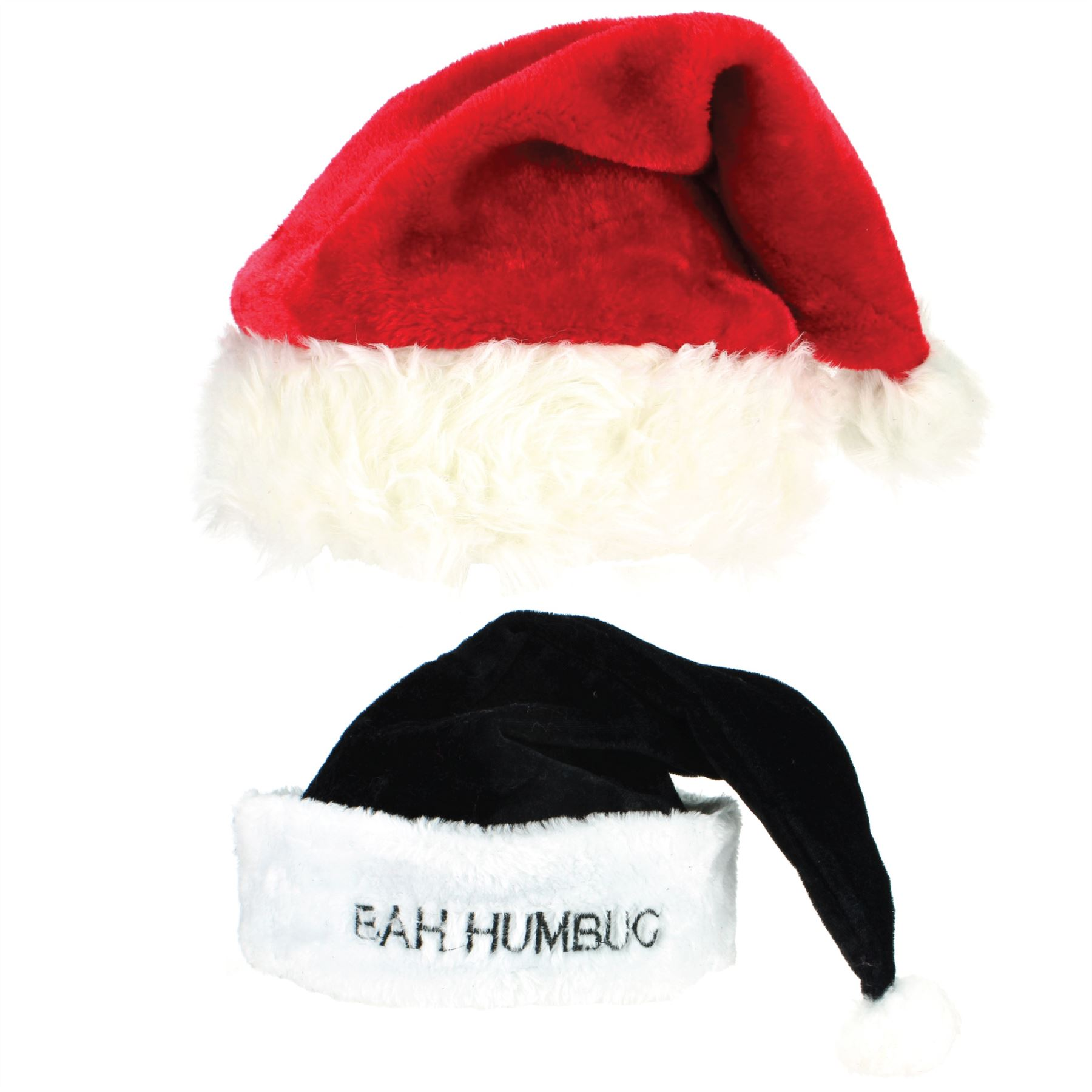 90cdda029d6 Santa Hat Father Christmas Xmas Cap Super Soft Red Black BAH HUMBUG ...
