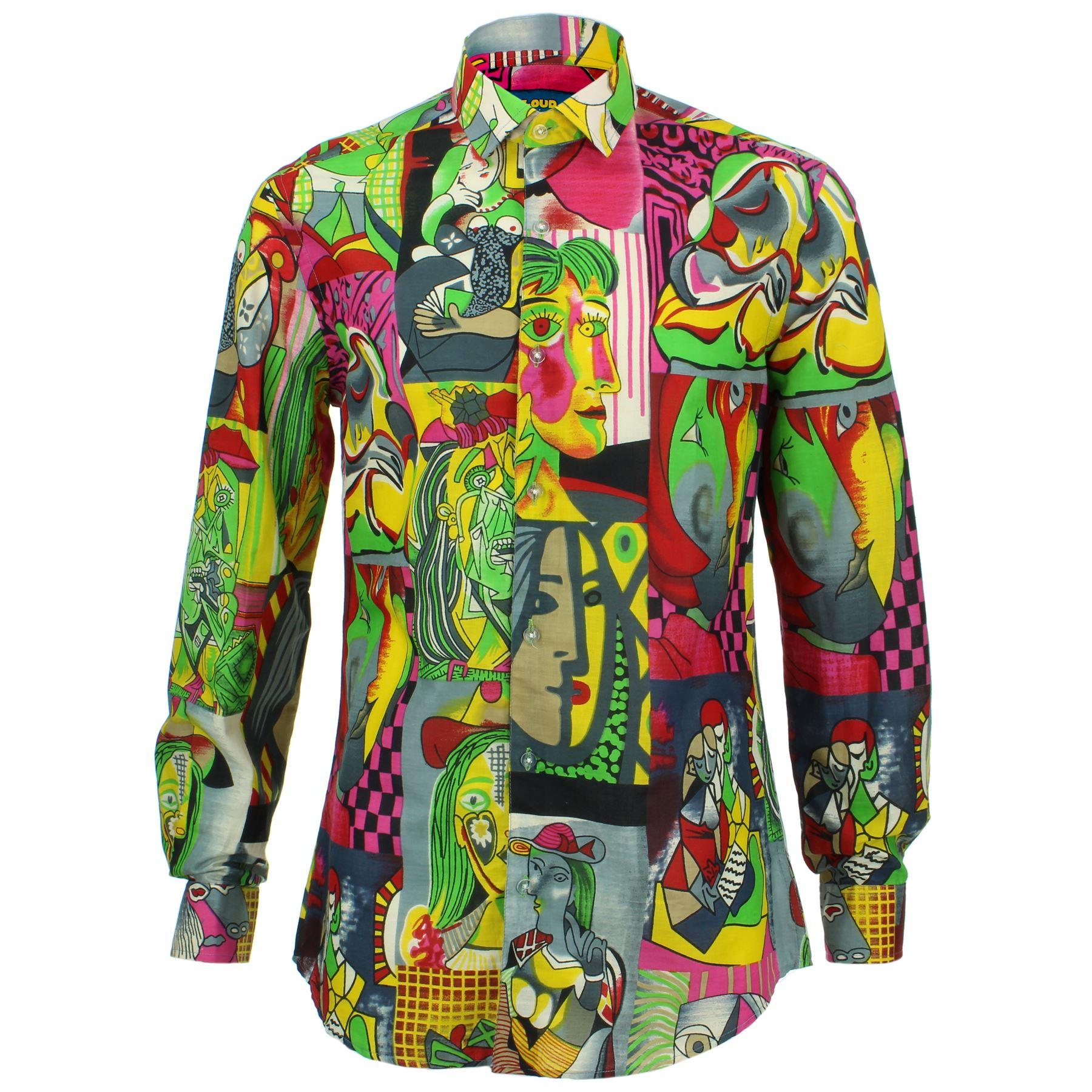 Herren Shirt Loud Originals Geschneidert Paisley Grün Retro Psychedelic Kostüm