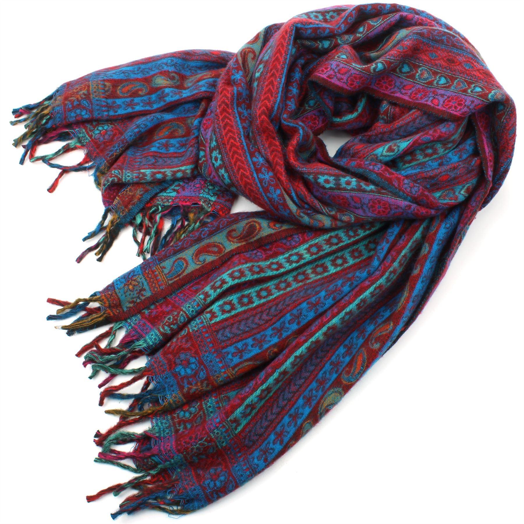 Acrylic-Wool-Blanket-Shawl-Wrap-Throw-Finest-Softest-India-Stripe-Paisley-Travel thumbnail 45