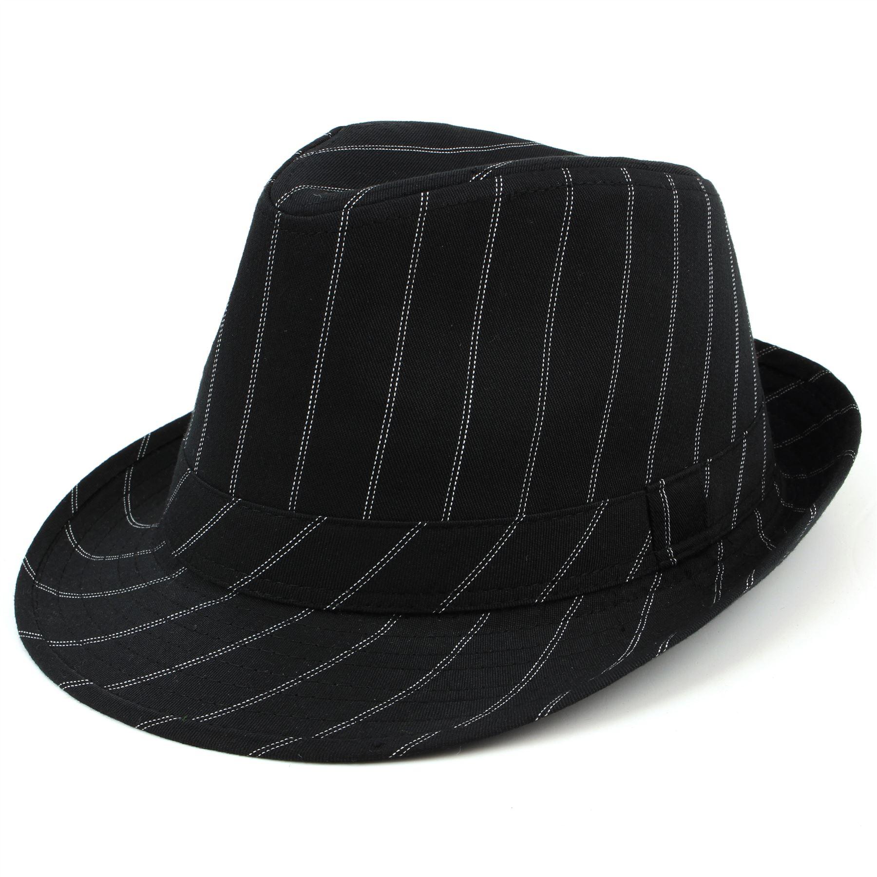 Details about Trilby Hat Pinstripe Fedora Panama Black Suit Ska Mens Formal  New Cap Man f88784f2c8b