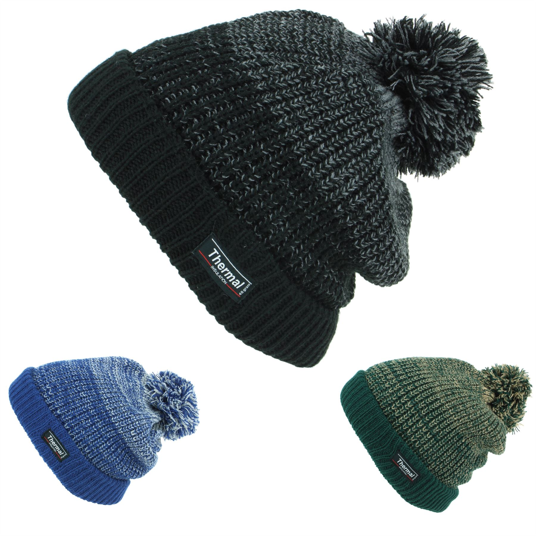 bb0db1b7c Details about Beanie Hat Cap Warm Winter BLUE GREEN Bobble Thinsulate 3M  Men Ladies Knit Ski