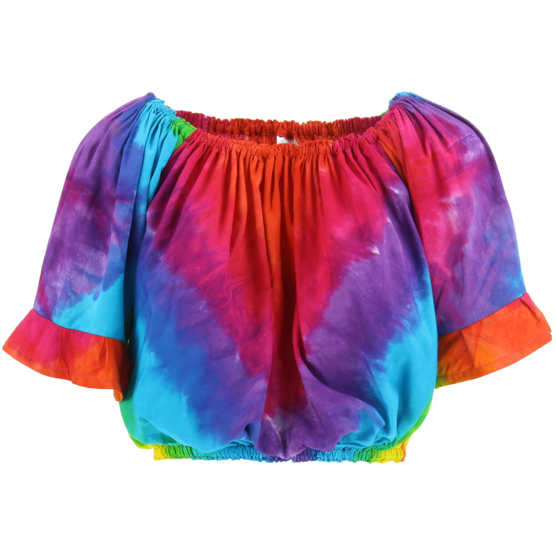 Bardot Off Shoulder Top Frill Summer Tie Dye Rainbow Ladies Sleeveless