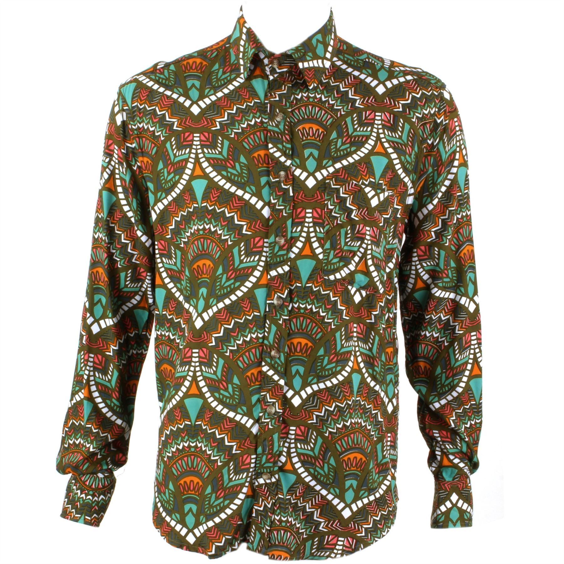 Mens Loud Shirt Retro Psychedelic Festival Party Funky Abstract Brown  REGULAR