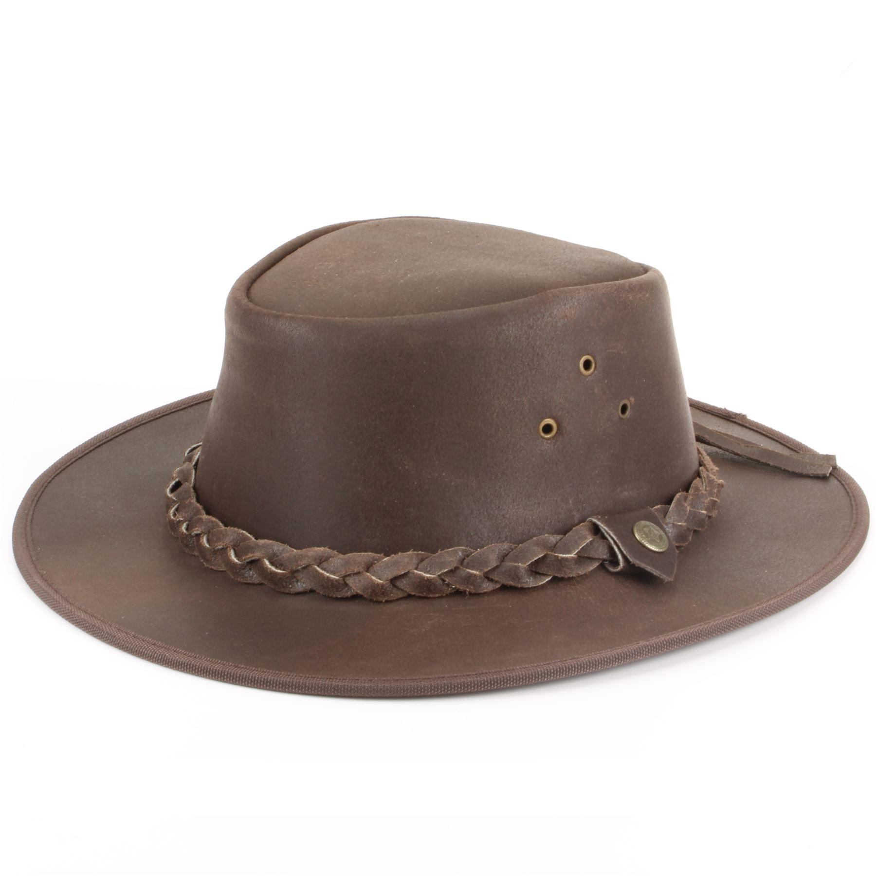 4a30afd6c28fd Sombrero de Cowboy Australiano Ala Ancha marrón gastado Cuero ...