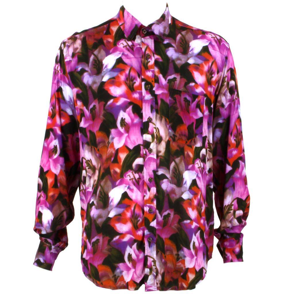 Homme haut shirt retro psychédélique festival fête funky abstract rose regular