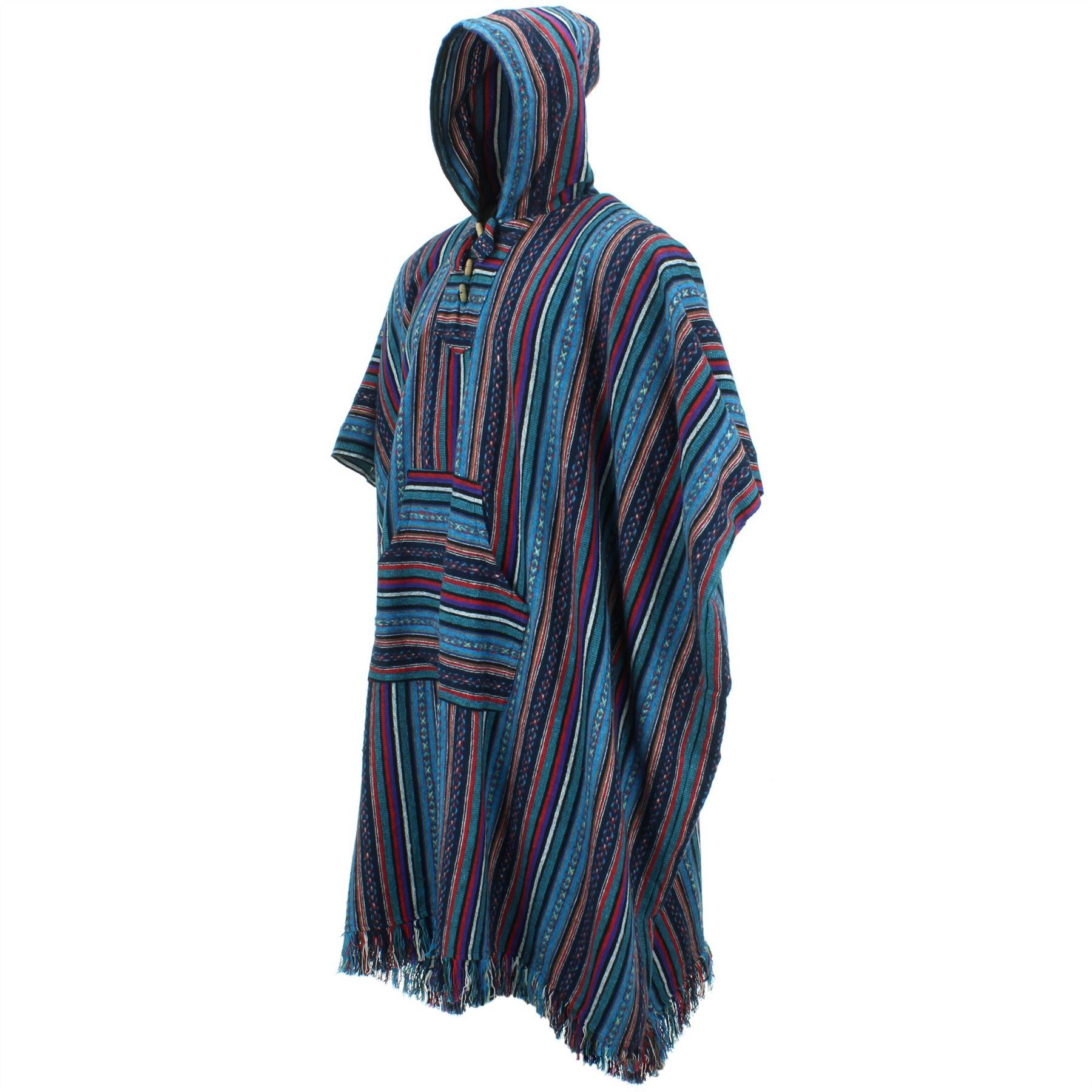 Poncho-Hooded-Cape-Cotton-Warm-Festival-Long-Woven-Rainbow-Men-Women thumbnail 12