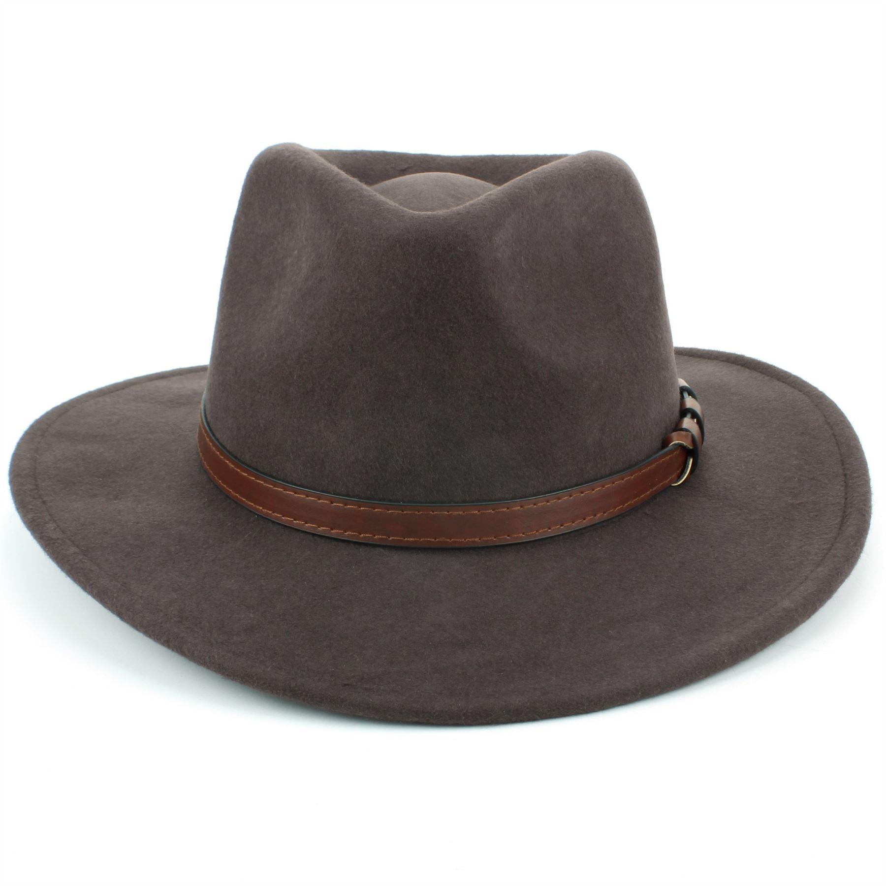 Fedora-Hat-Wool-BLACK-BROWN-Hawkins-Trilby-Brim-Mens-Ladies-Travel thumbnail 7