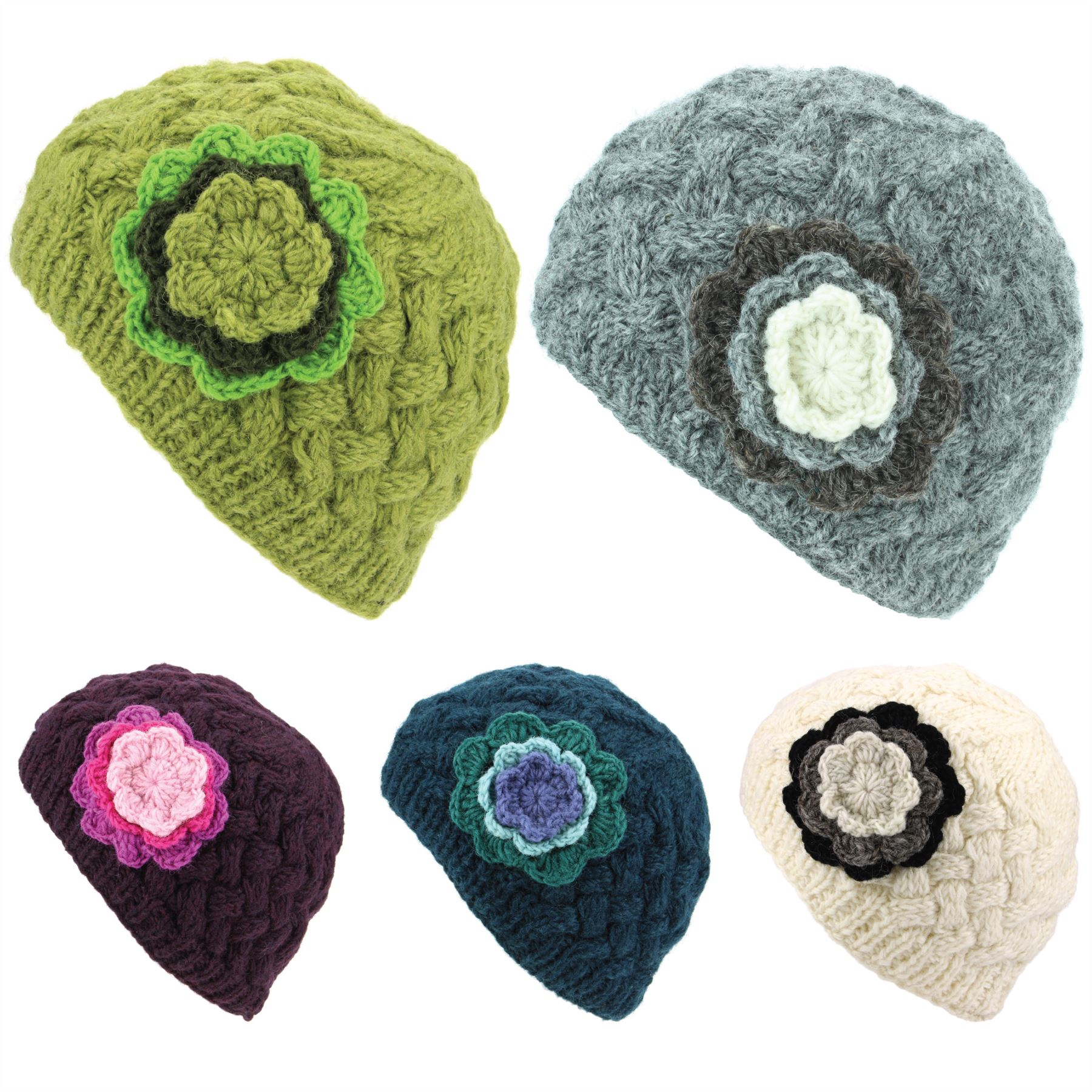 a7135cc802e Details about Wool Knit Beanie Hat Ladies Women Warm Winter Cable Knitted  Flower Lined