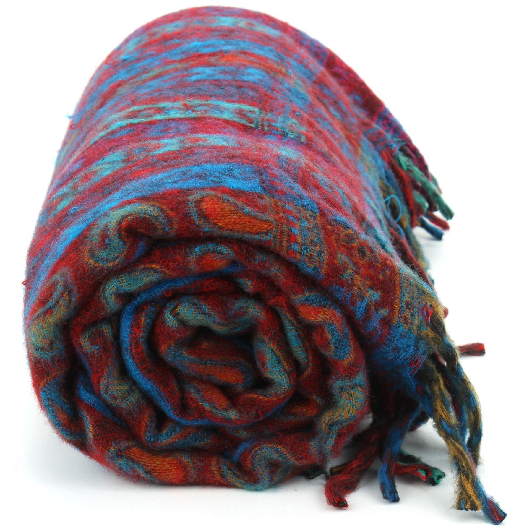Acrylic-Wool-Blanket-Shawl-Wrap-Throw-Finest-Softest-India-Stripe-Paisley-Travel thumbnail 44