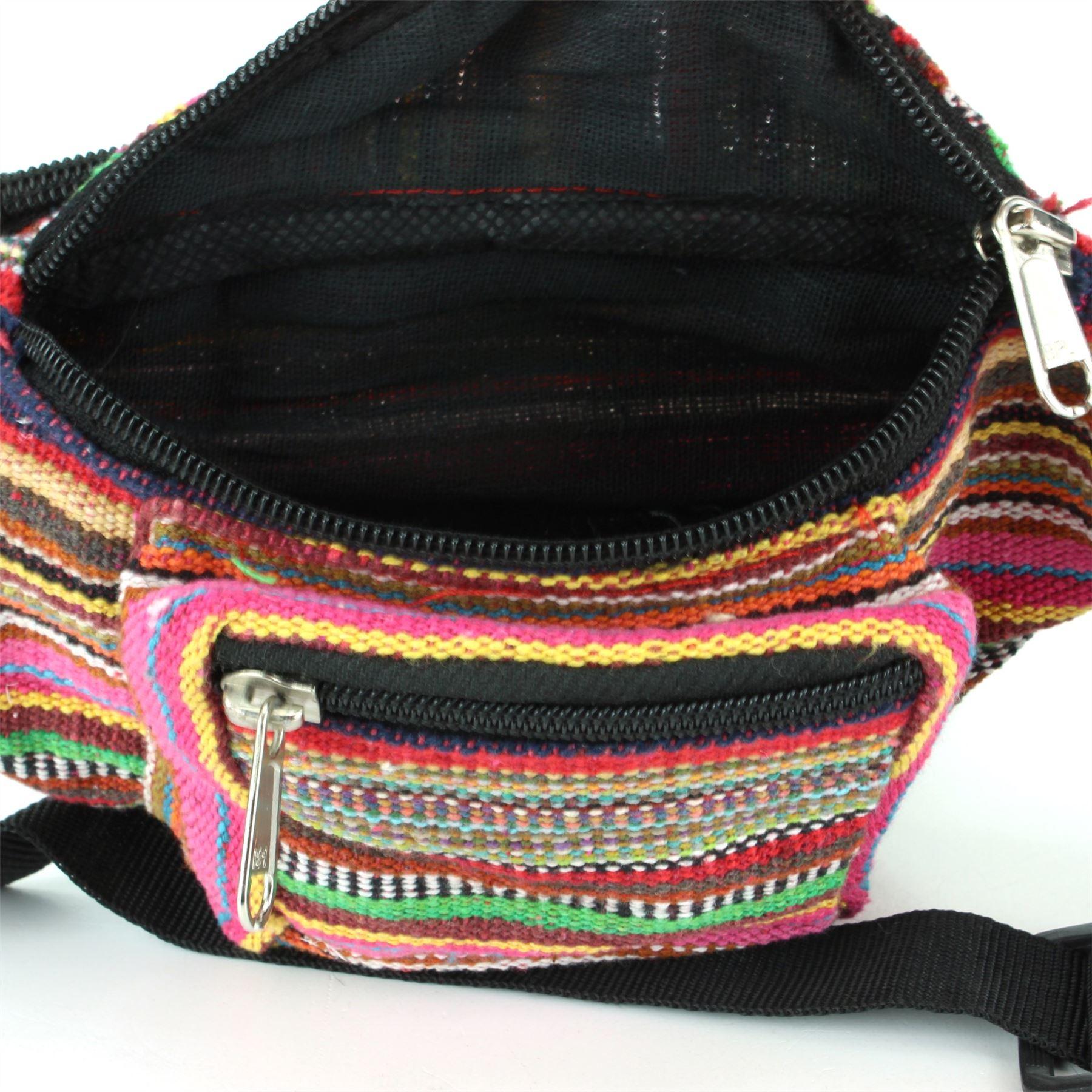 Money Belt Bum Bag Festival Pouch Fanny Pack Canvas LoudElephant Black Waist