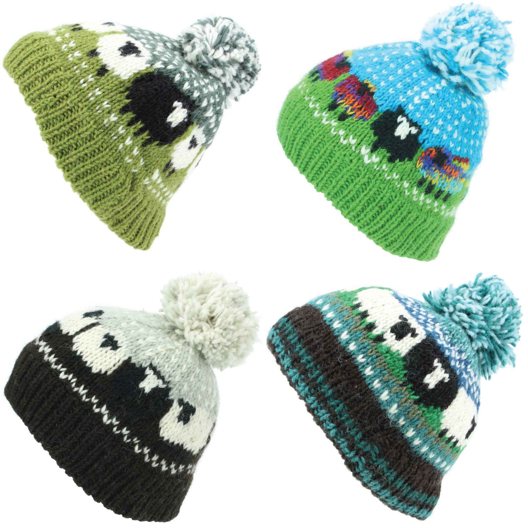 dec1879b96e Details about Chunky Wool Knit Beanie Bobble Hat Men Ladies Warm Winter  Sheep Black Sheep