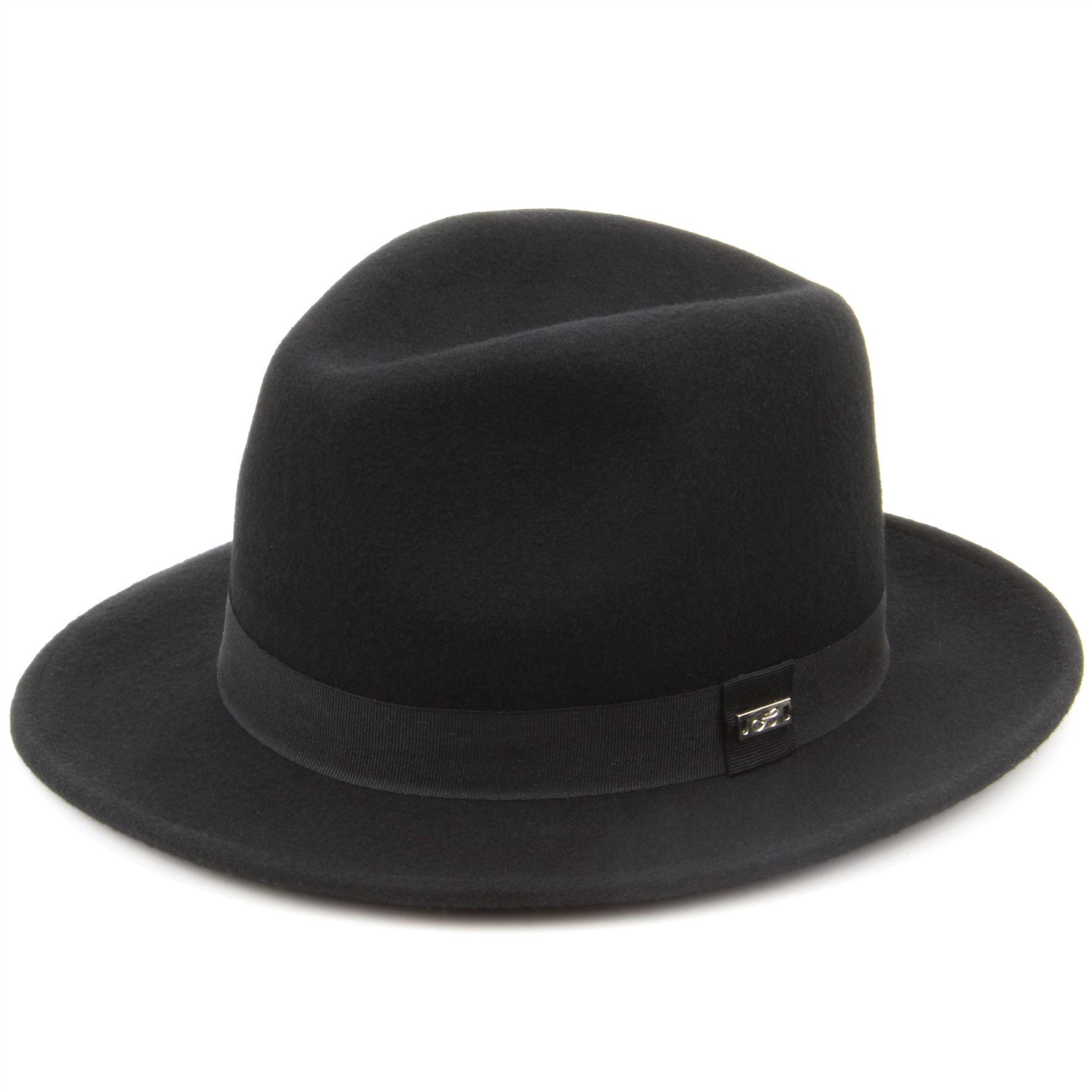 Details about Fedora Hat Trilby Black Hawkins Cap Wool Felt Ladies Men Band  Brim ff005b796ae
