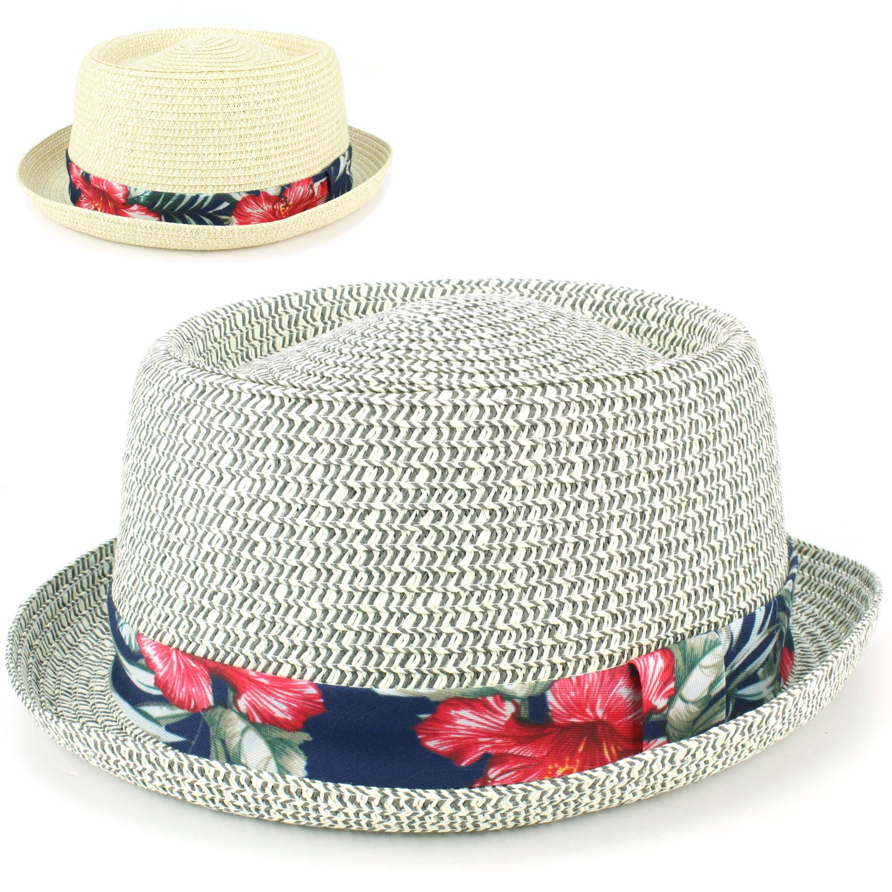 c89f26201cfc55 Straw Hat Porkpie Pork Pie Trilby Mens Ladies Summer Sun Retro ...
