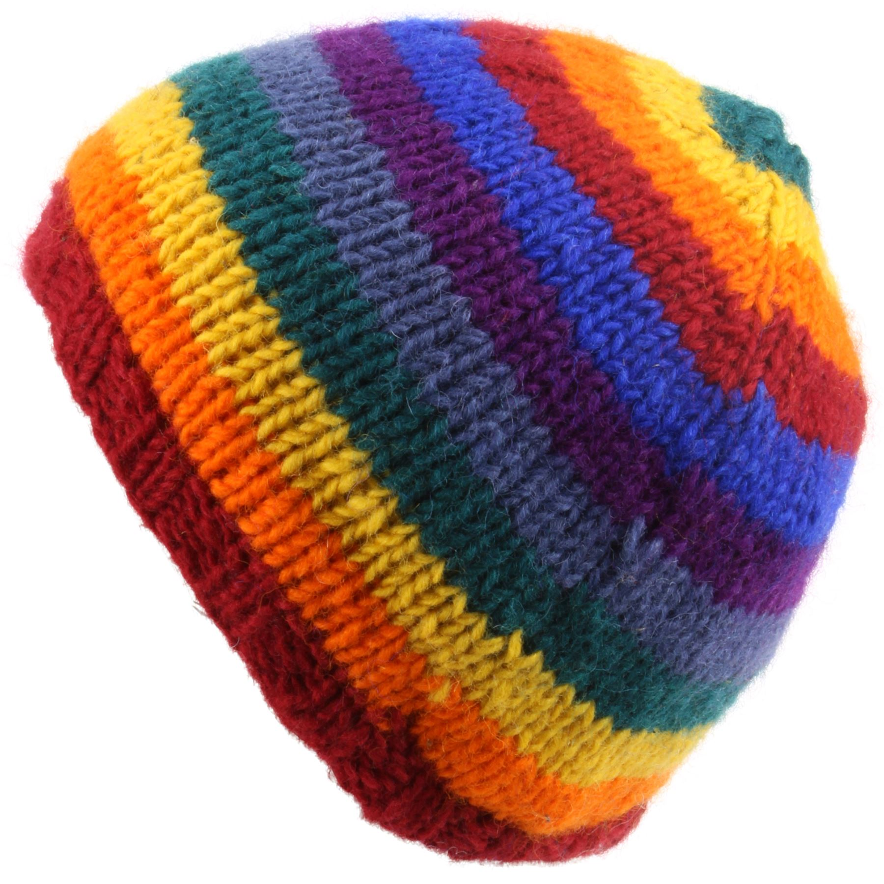 Details about RAINBOW Beanie Hat Wool Knit Stripe LOUDelephant Fleece Lined  Warm Winter 791a6f88235