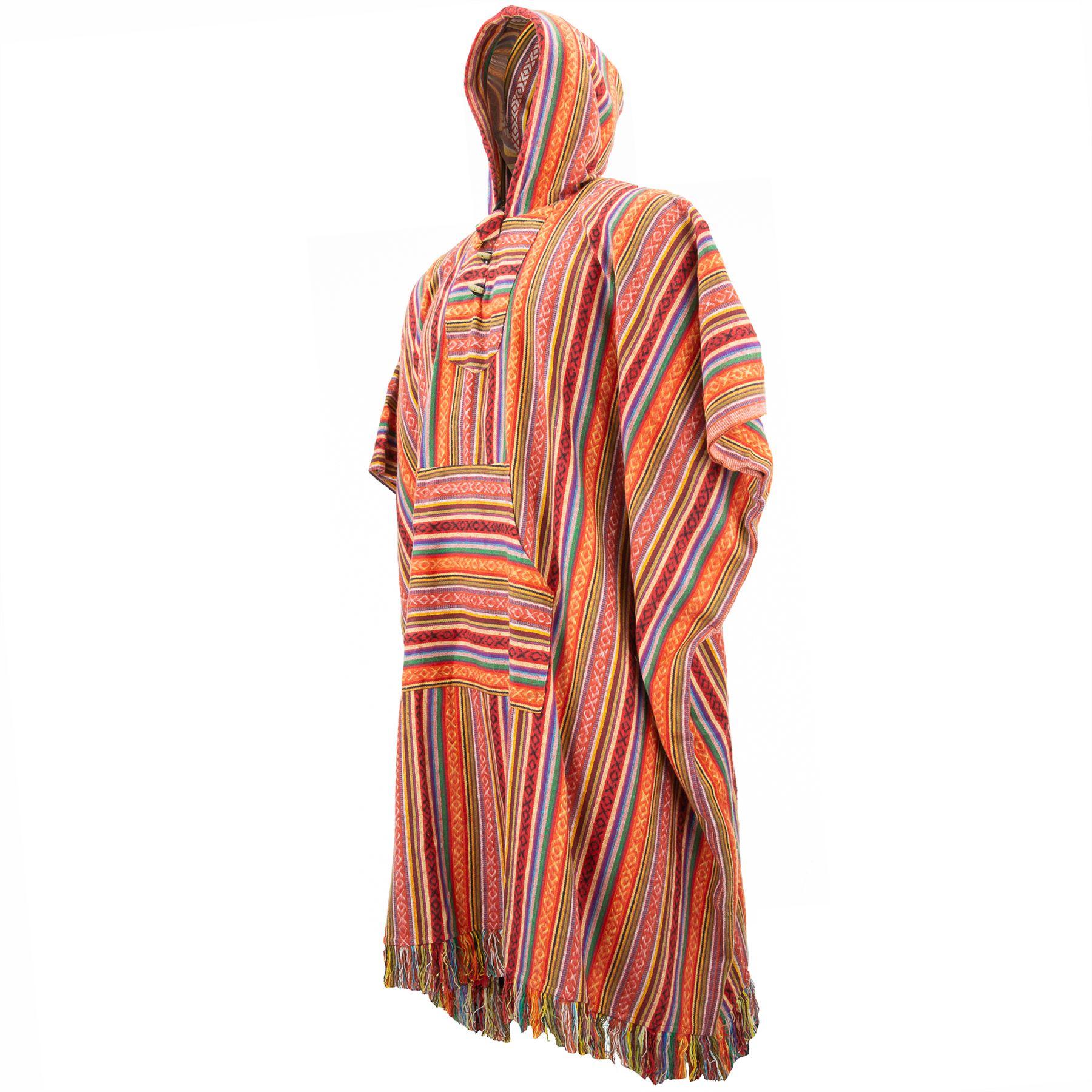 Poncho-Hooded-Cape-Cotton-Warm-Festival-Long-Woven-Rainbow-Men-Women thumbnail 4