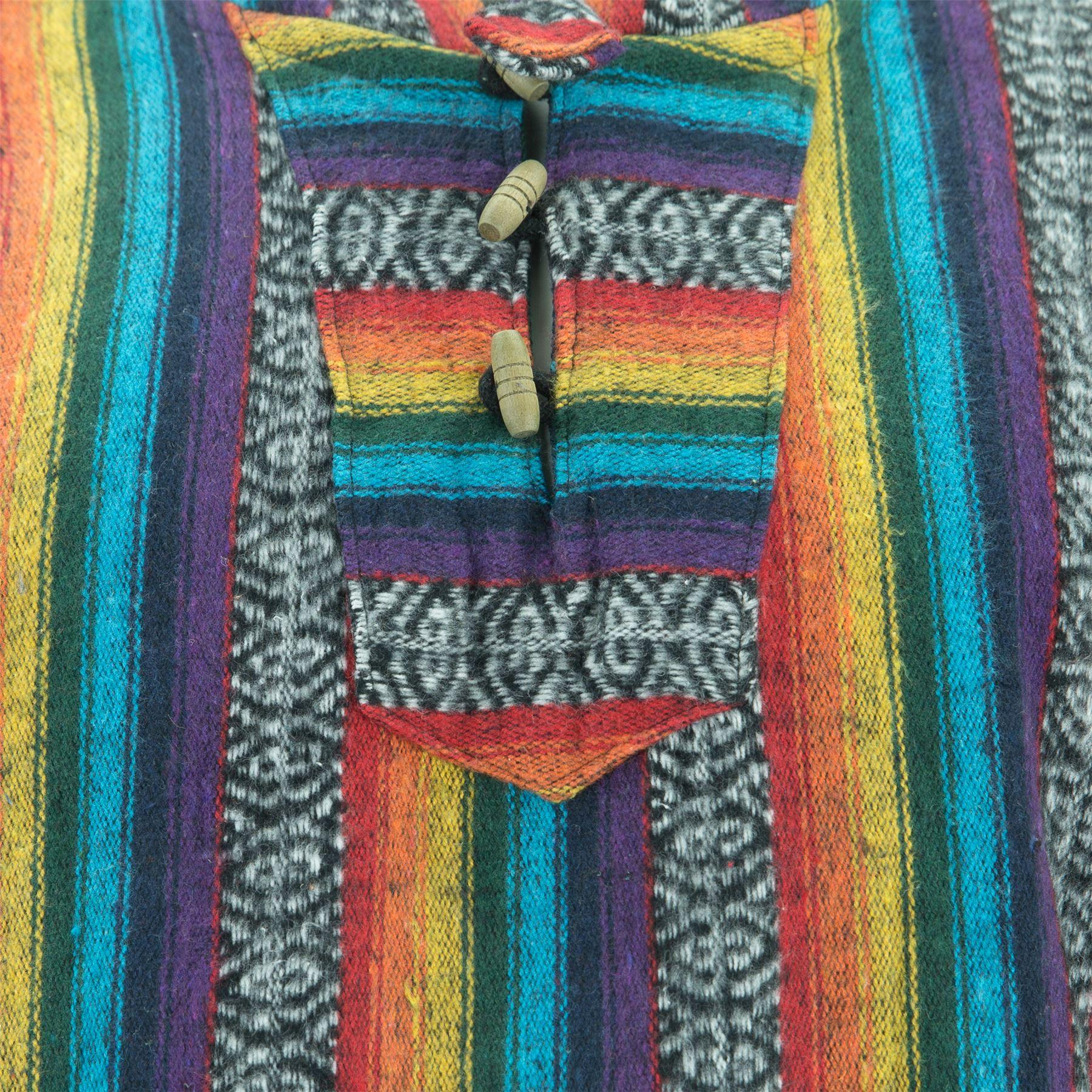 Poncho-Hooded-Cape-Cotton-Warm-Festival-Long-Woven-Rainbow-Men-Women thumbnail 18