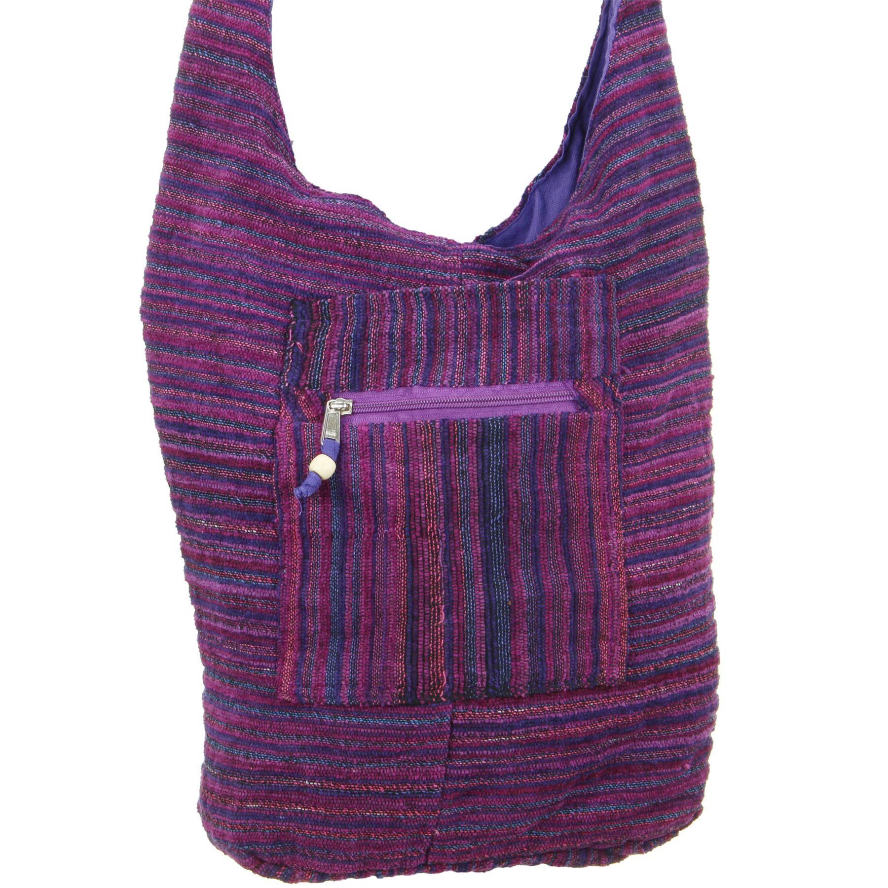 Sling-Bag-Chenille-Messenger-bandolera-cuerpo-transversal-Bolso-de-Mano-Bolso-Mochila-HOBO-HIPPIE miniatura 5