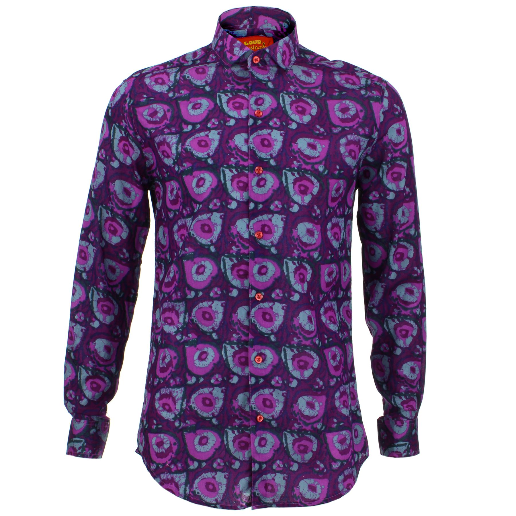 Mens Shirt Loud Originals TAILORED FIT Random Purple Retro Psychedelic Fancy