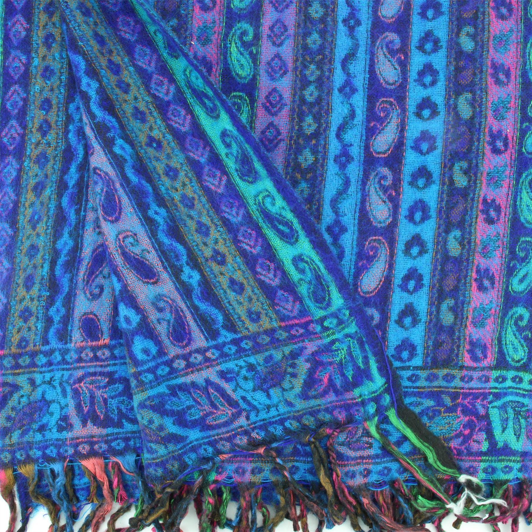 Acrylic-Wool-Blanket-Shawl-Wrap-Throw-Finest-Softest-India-Stripe-Paisley-Travel thumbnail 6