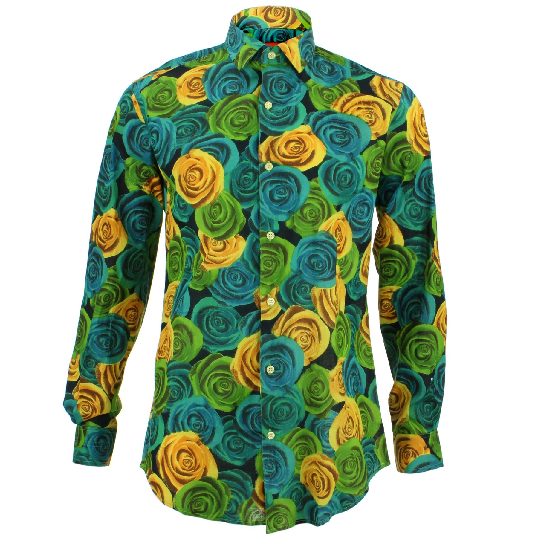 Mens Shirt Loud Originals TAILORED FIT Picasso Green Retro Psychedelic Fancy