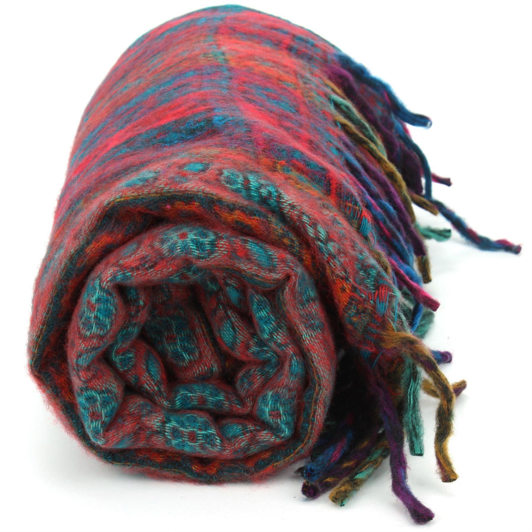 Acrylic-Wool-Blanket-Shawl-Wrap-Throw-Finest-Softest-India-Stripe-Paisley-Travel thumbnail 48