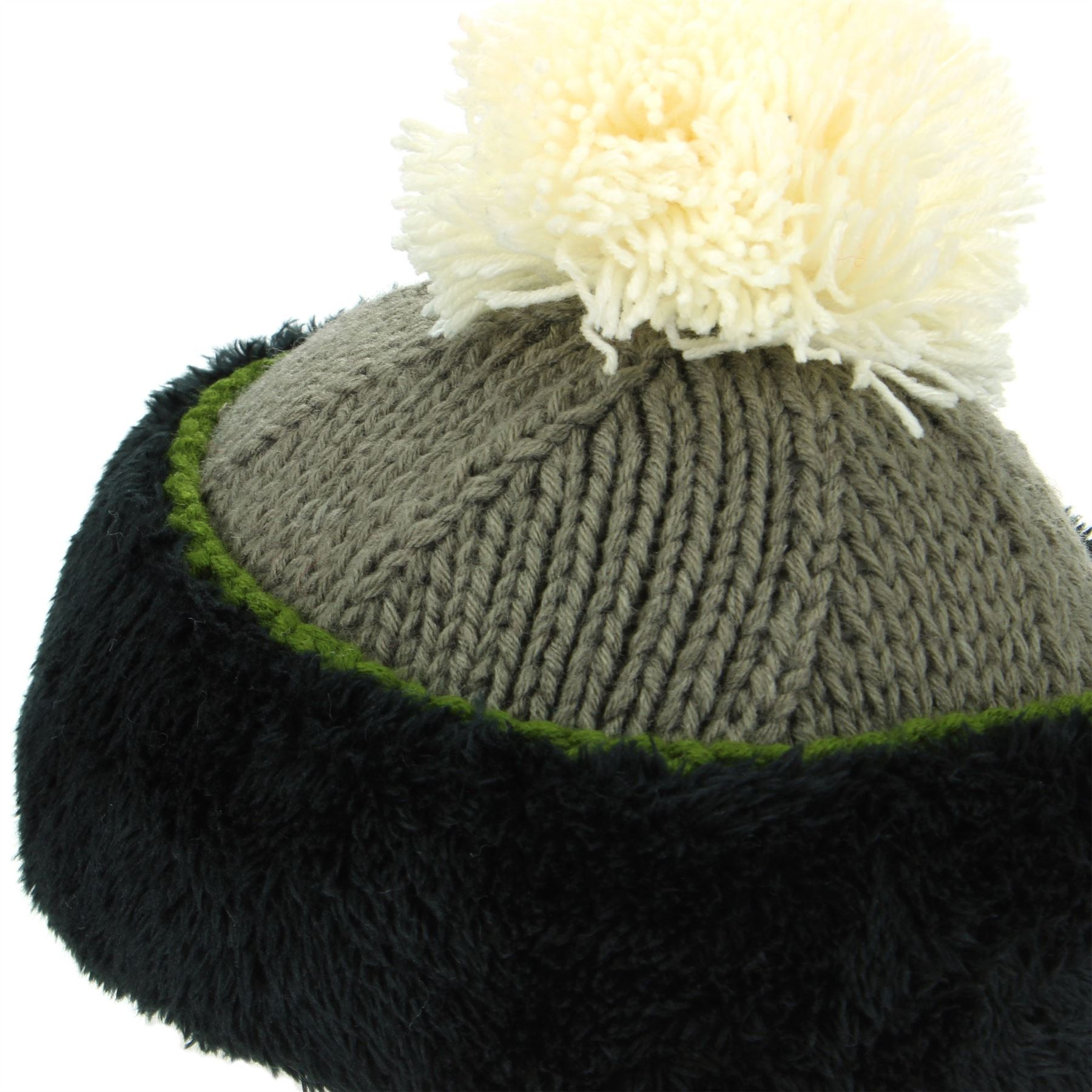 LADIES WOMENS KNITTED LINED BRIGHT FAIRISLE BOBBLE BEANIE SOFT WARM WINTER HAT