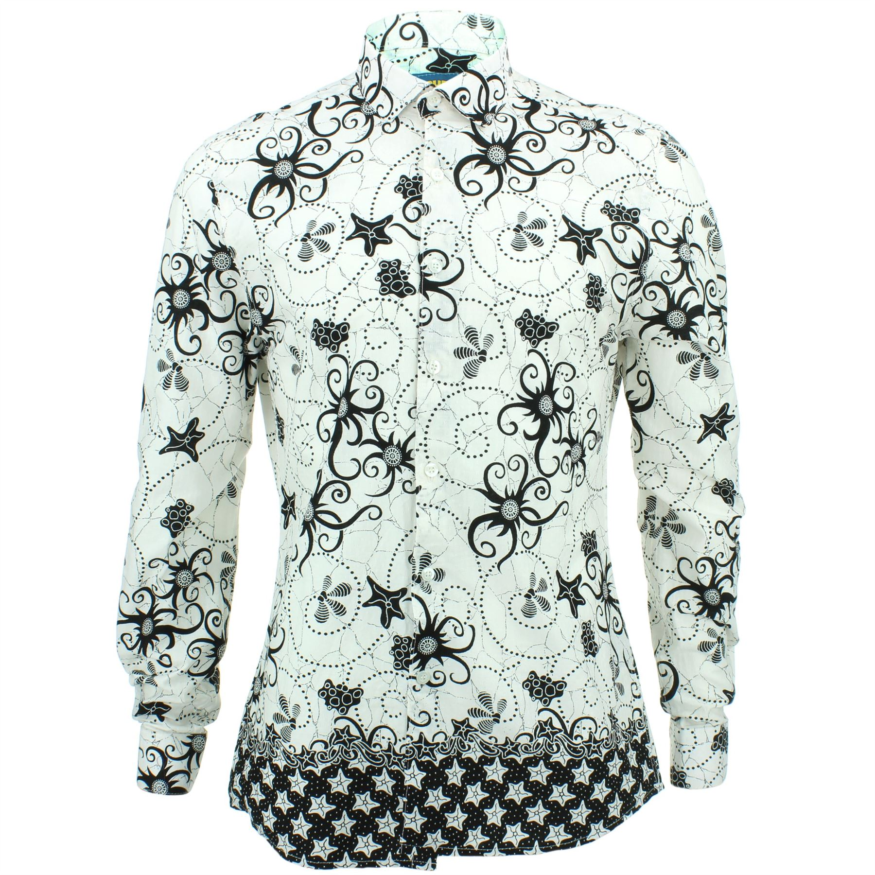 Mens Shirt Loud Originals TAILORED FIT Floral White Retro Psychedelic Fancy
