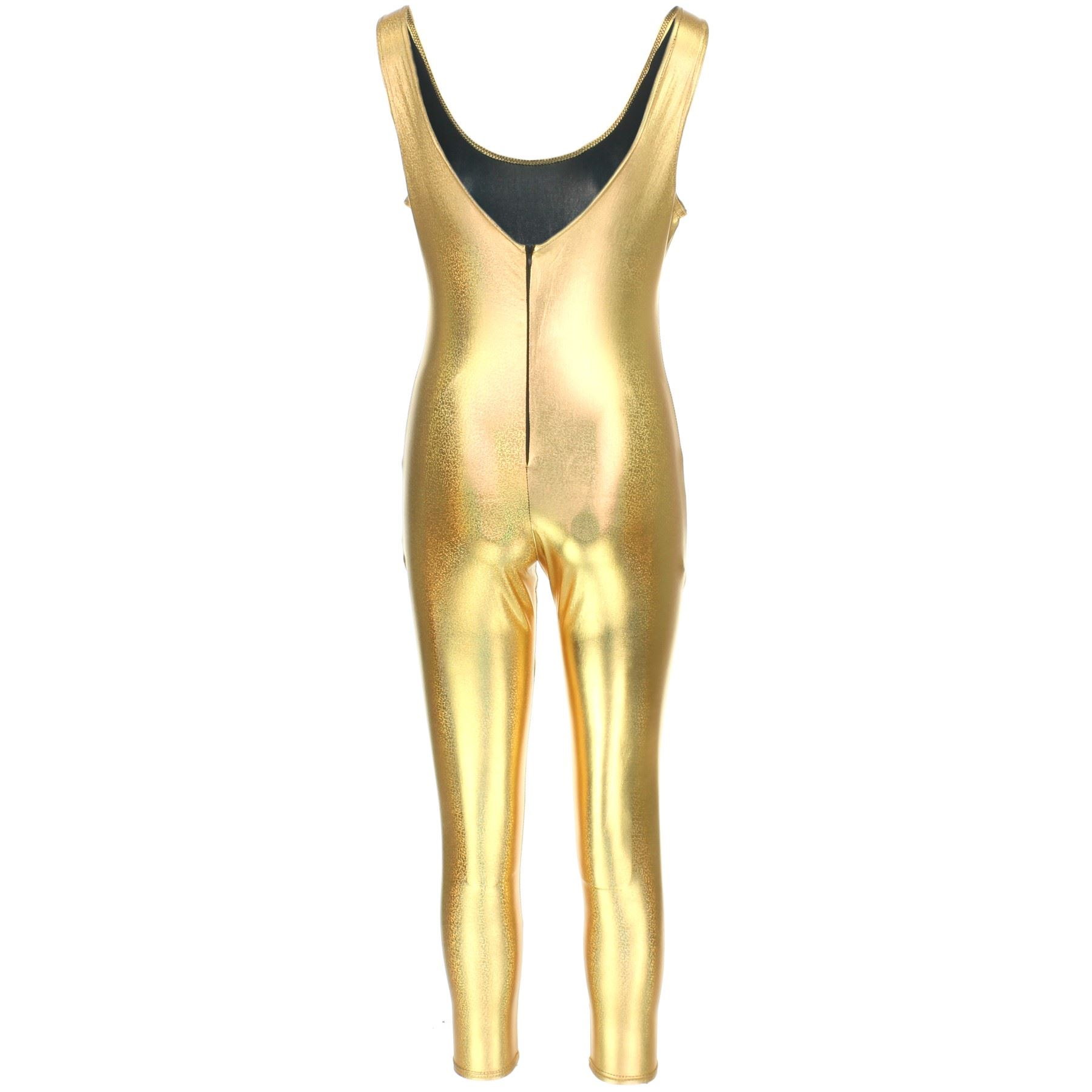 Sleeveless-Catsuit-Bodysuit-Jumpsuit-Romper-Trousers-GOLD-SILVER-Mermaid-Scales