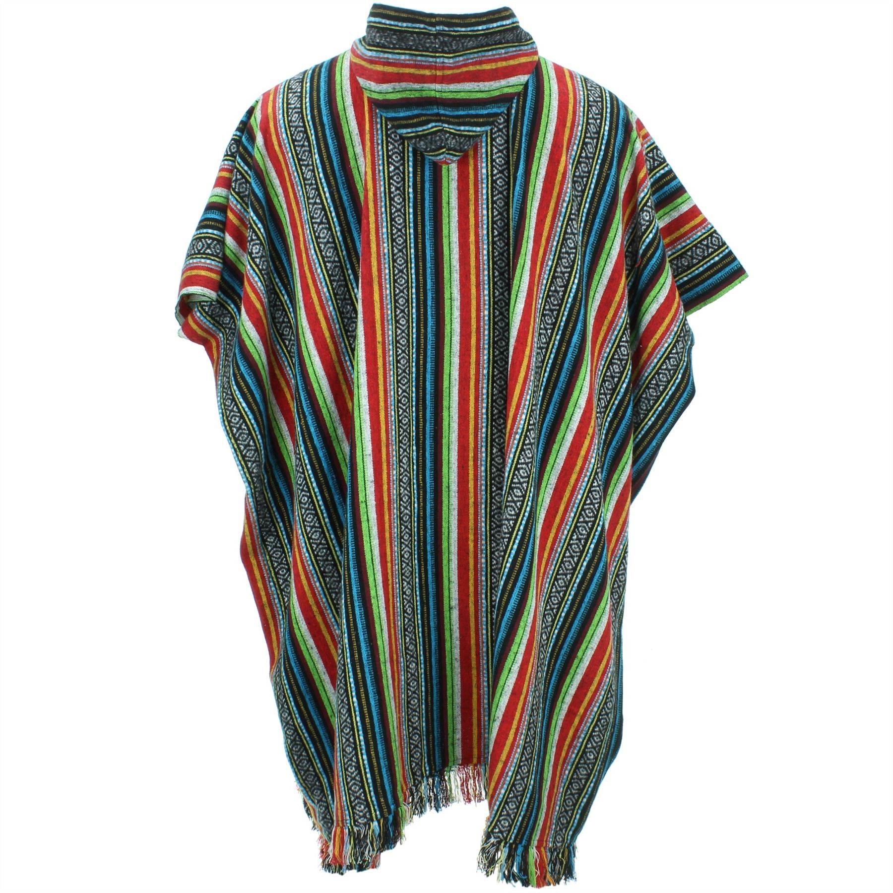 Poncho-Hooded-Cape-Cotton-Warm-Festival-Long-Woven-Rainbow-Men-Women thumbnail 7