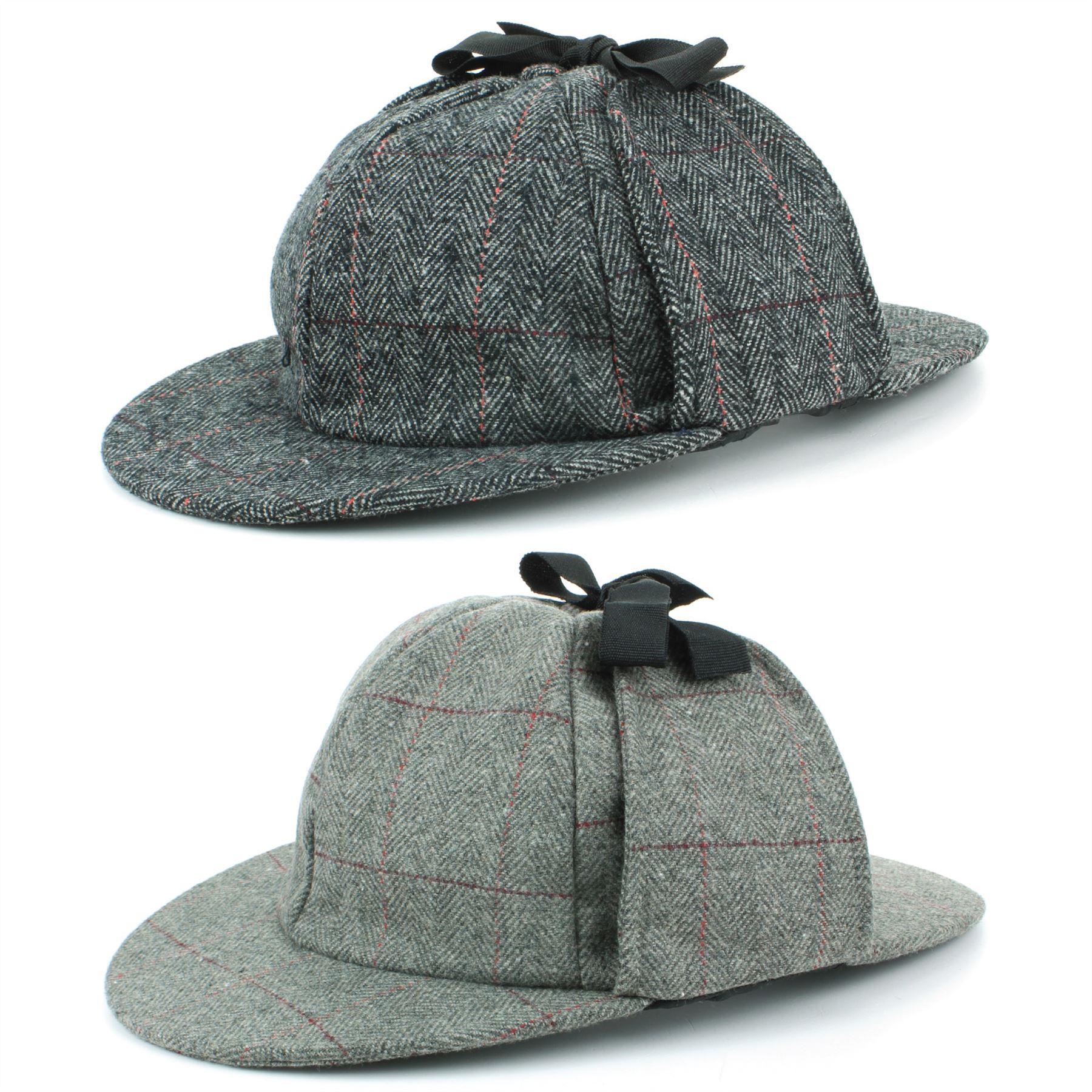 ba7be666956 Details about Deerstalker Hat Herringbone Tweed Sherlock Holmes Grey Flat  Cap Peaks Hawkins