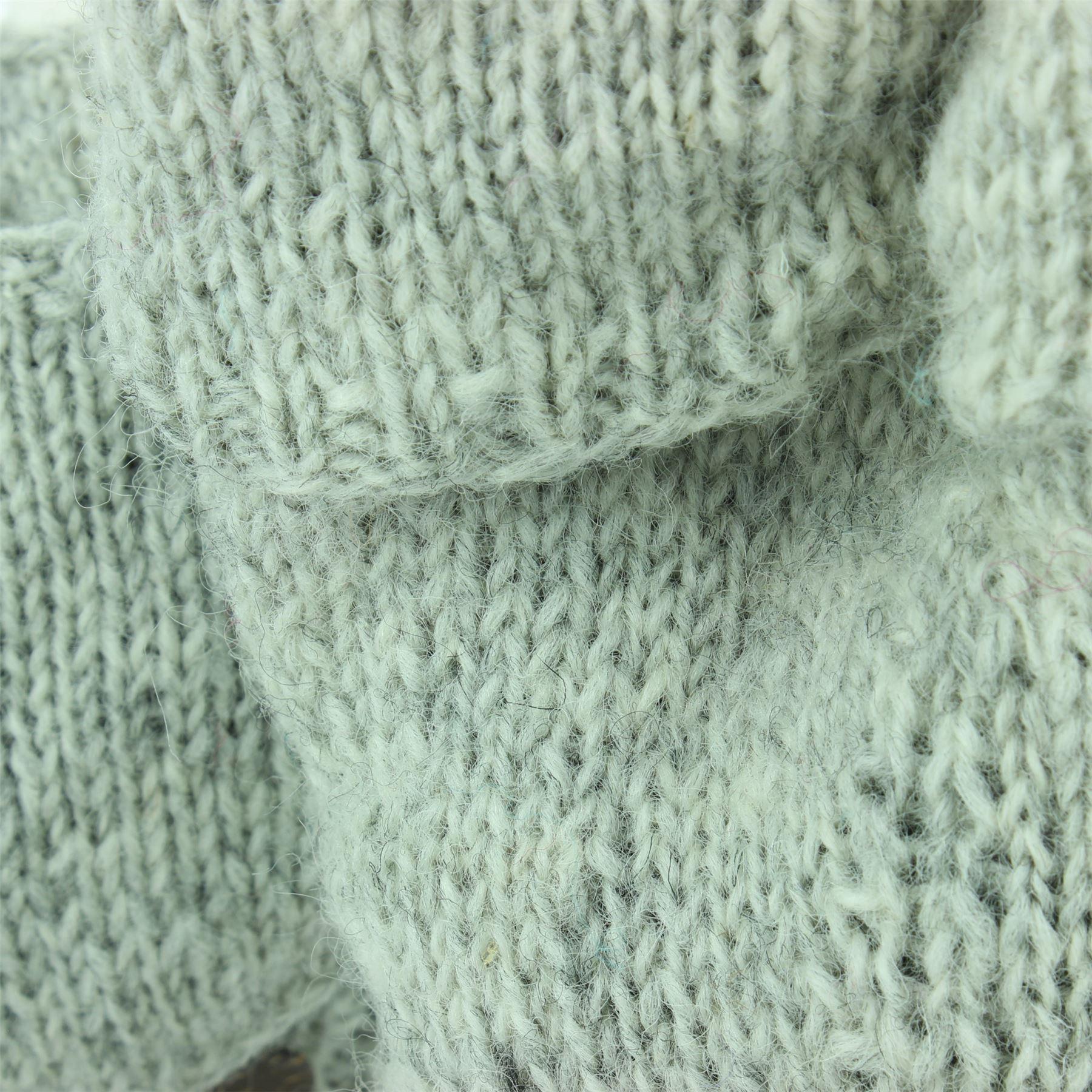 Wool-Gloves-Mittens-Fingerless-Shooter-Lined-PLAIN-Knit-Handmade-LoudElephant miniatura 9