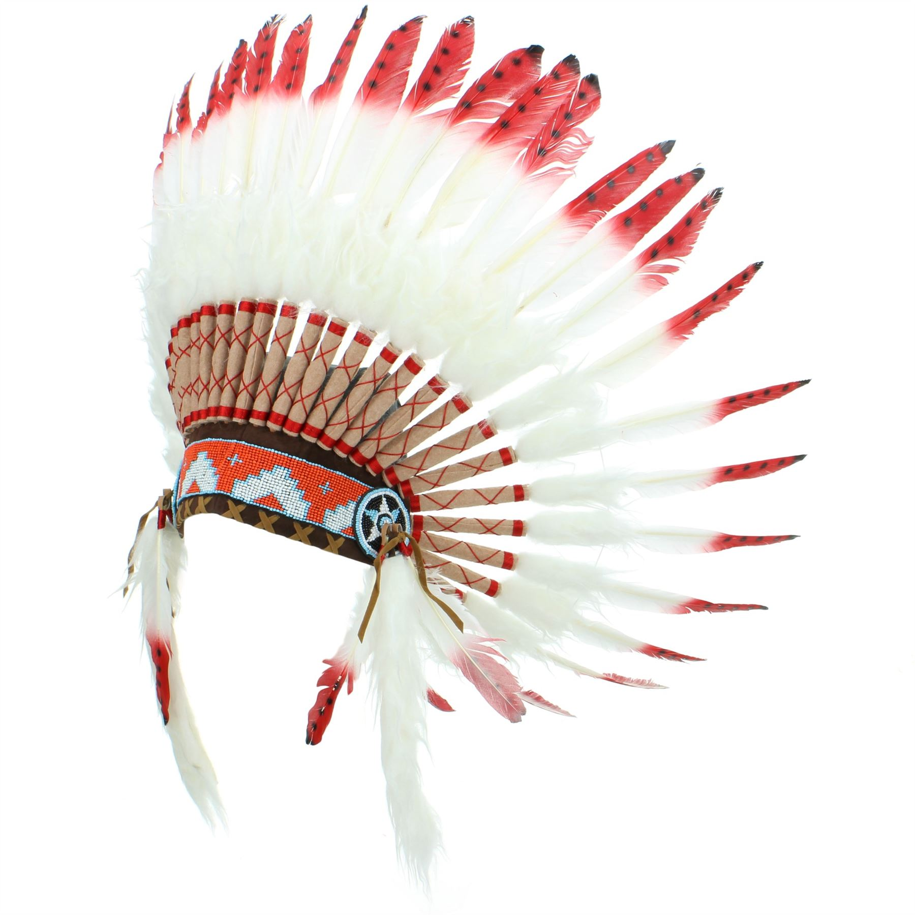 indio Tocado Jefe PLUMAS Sombrero Nativo Americano GRINGO Blanco ...