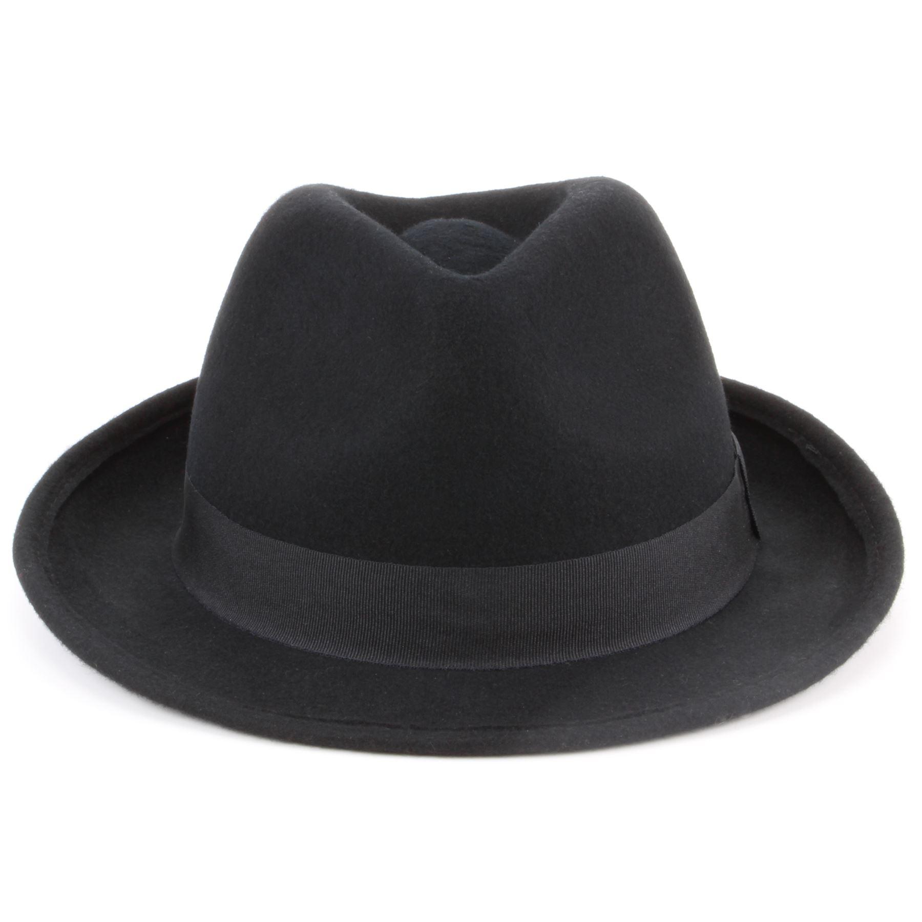 plutôt sympa rechercher les plus récents vente énorme Détails sur Laine trilby hat fedora feutre Hawkins Noir Marron Homme Femme  M S- afficher le titre d'origine