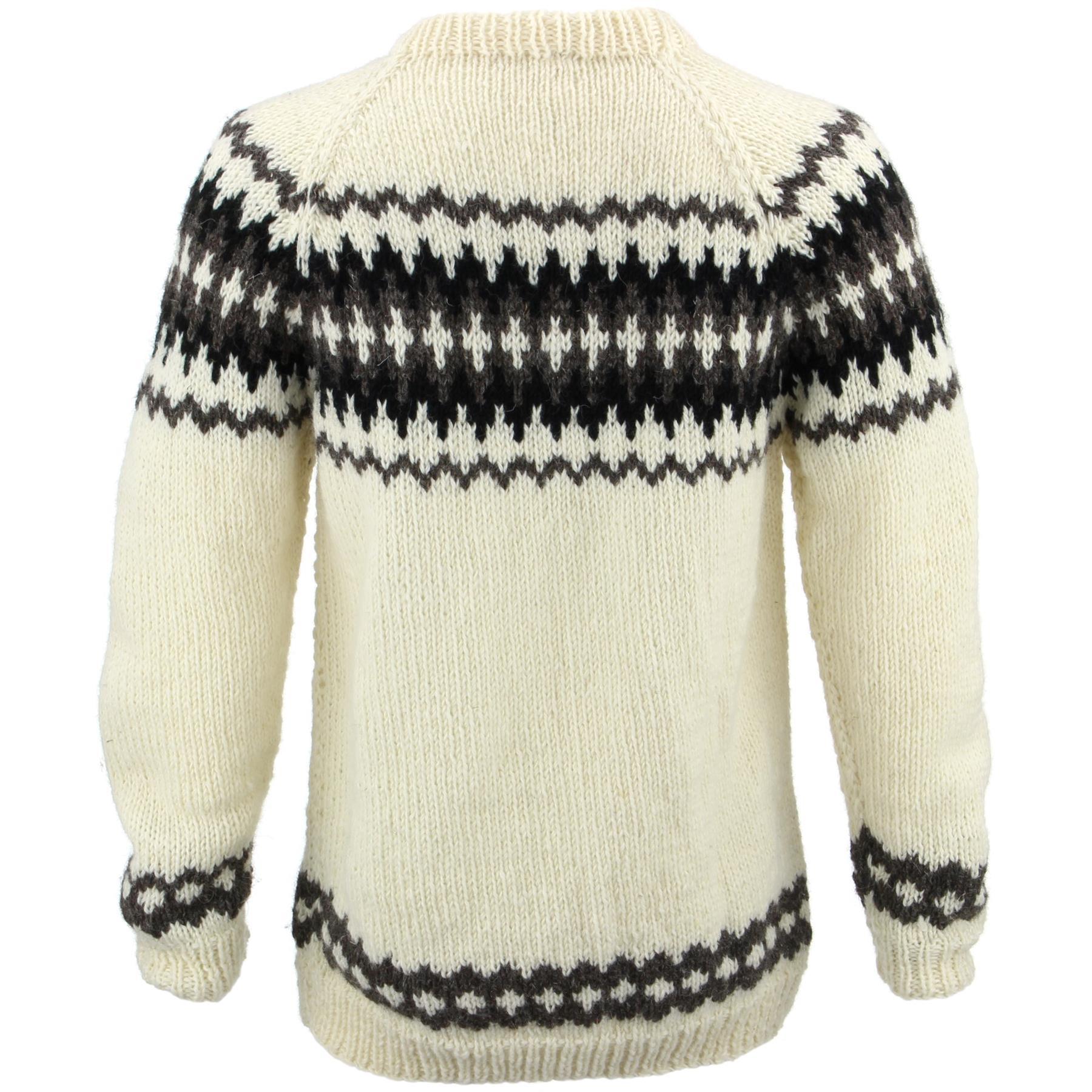 thumbnail 25 - Wool Knit Jumper Sweater Pullover Fairisle Nordic Abstract Warm Nepal Loose