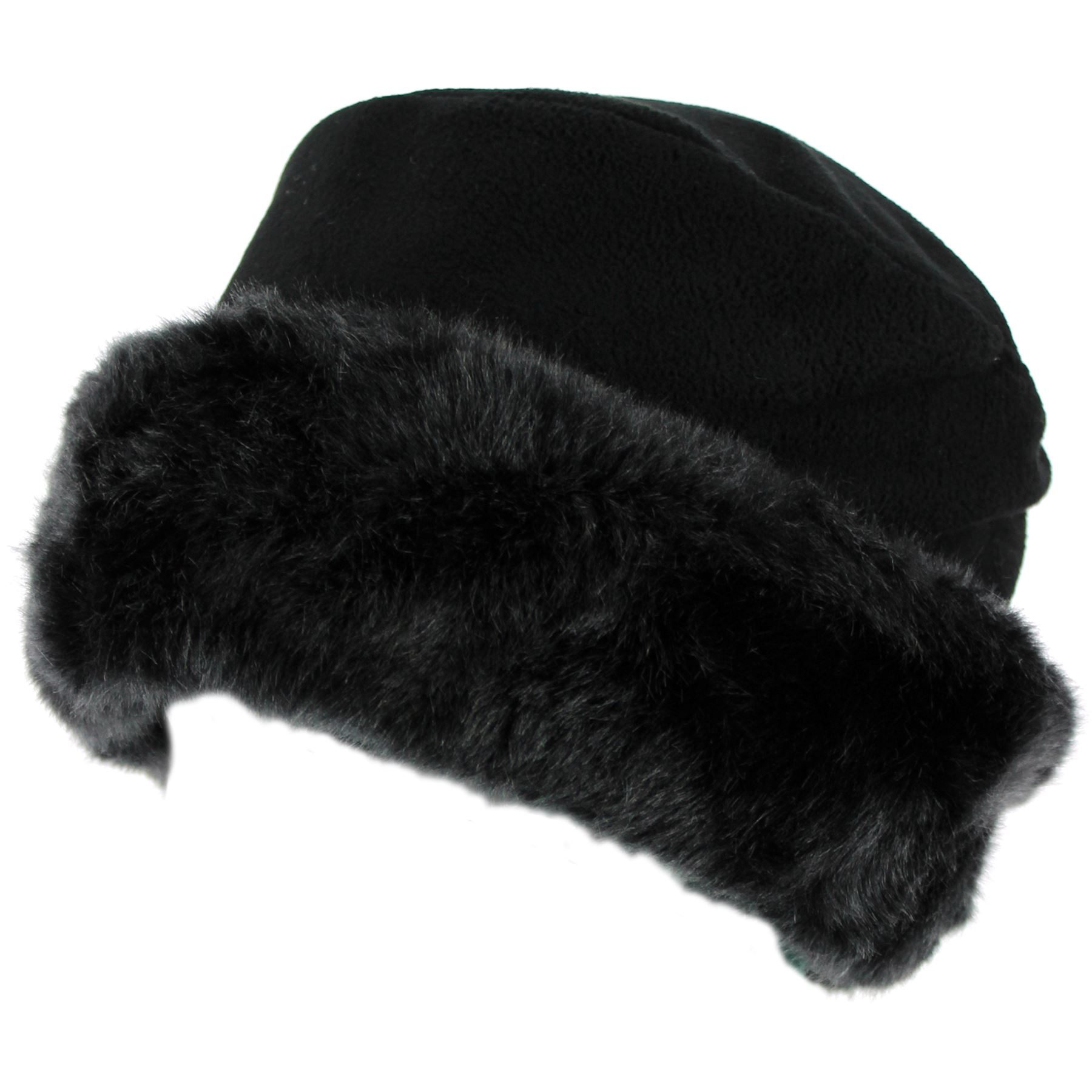 343037fa081cd Details about Fleece Hat Fur Faux Black White Snow Winter Ladies Womens New  Fashion Brim Cuff