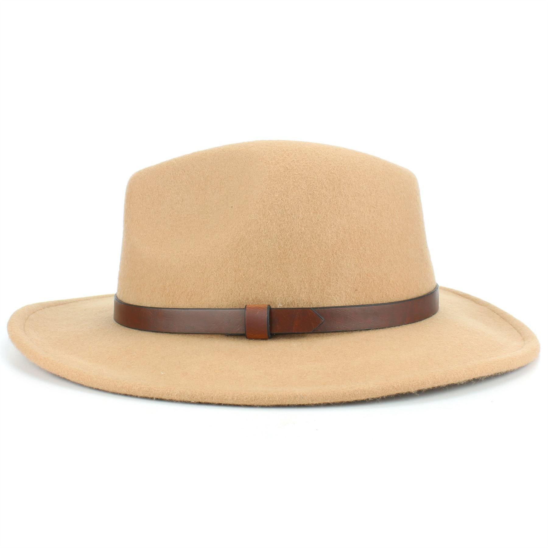 Fedora-Hat-Wool-Felt-Hawkins-Feather-Band-Trilby-Ladies-Men-Travel-Brim-Travel thumbnail 4