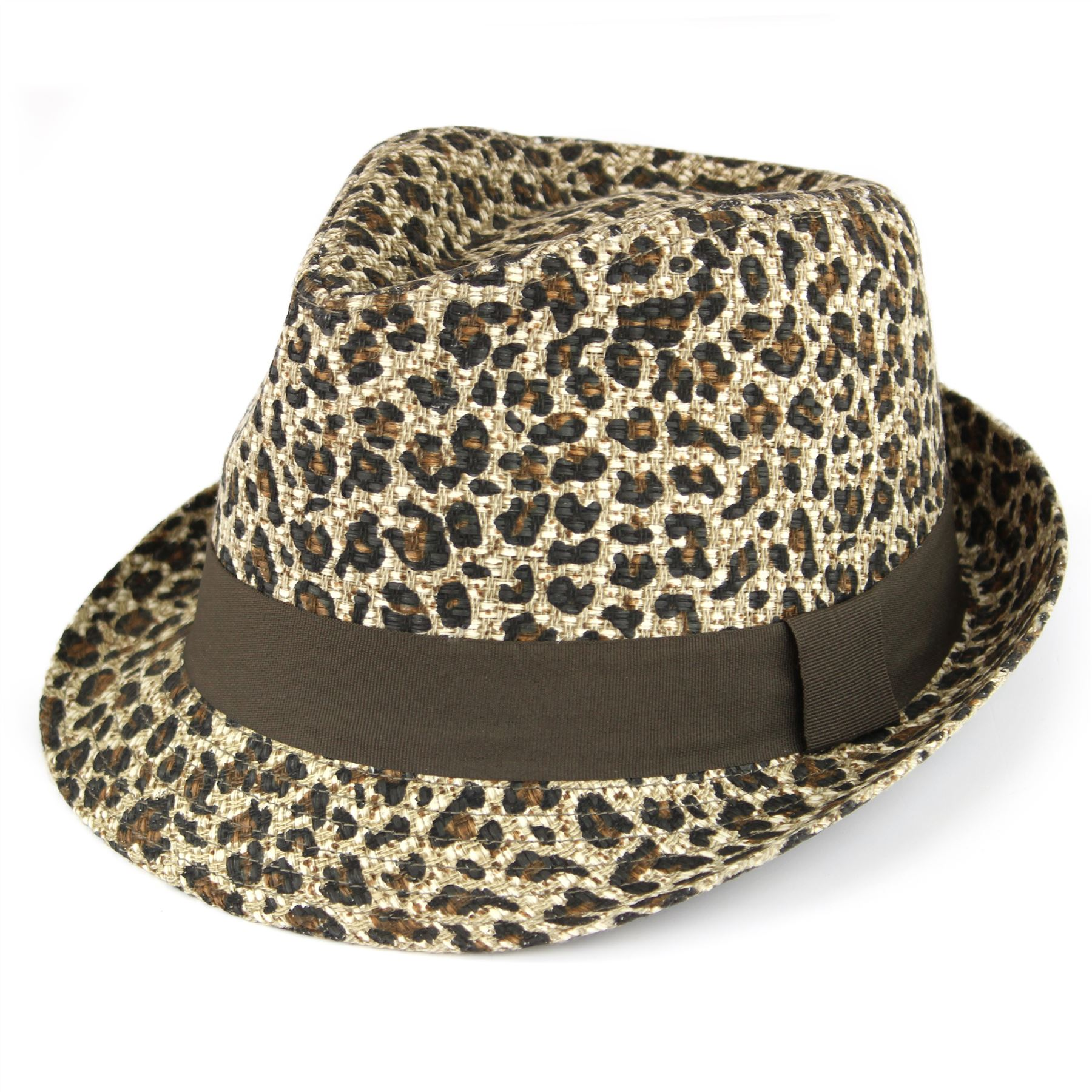 Details about Straw Trilby Hat Animal Leopard Print Woven Paper Hawkins  Summer Sun 7cc1900773d