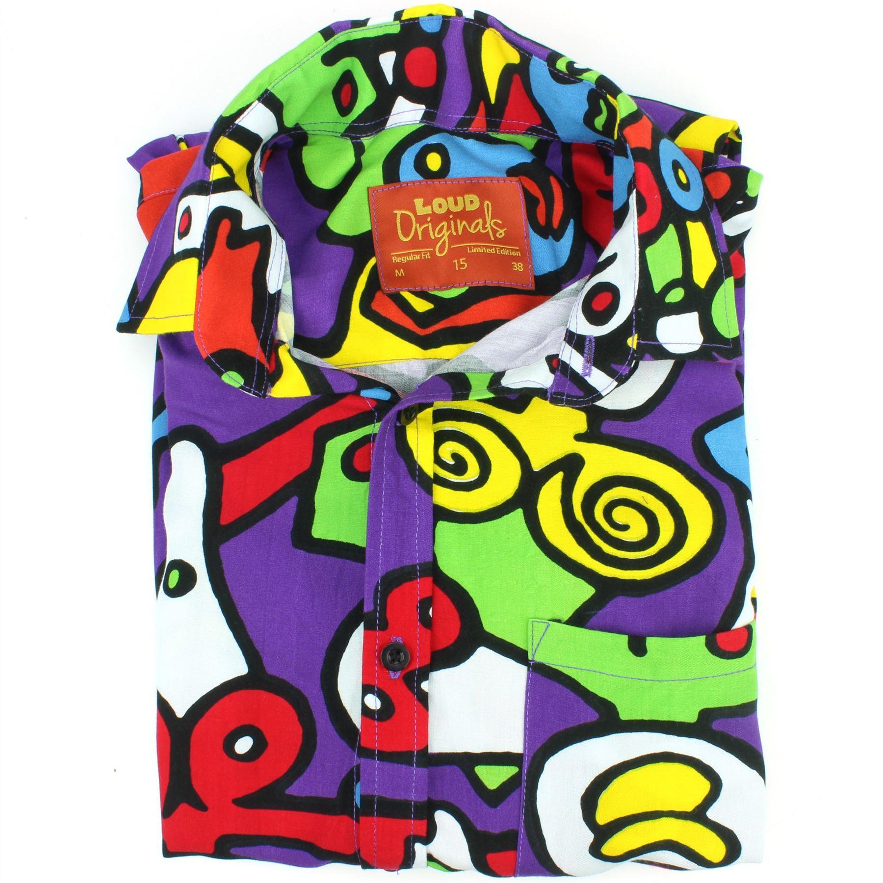 Mens-Shirt-Loud-Originals-Rayon-REGULAR-FIT-Long-Sleeve-TIFFY-PRINT-Retro-Dance thumbnail 12